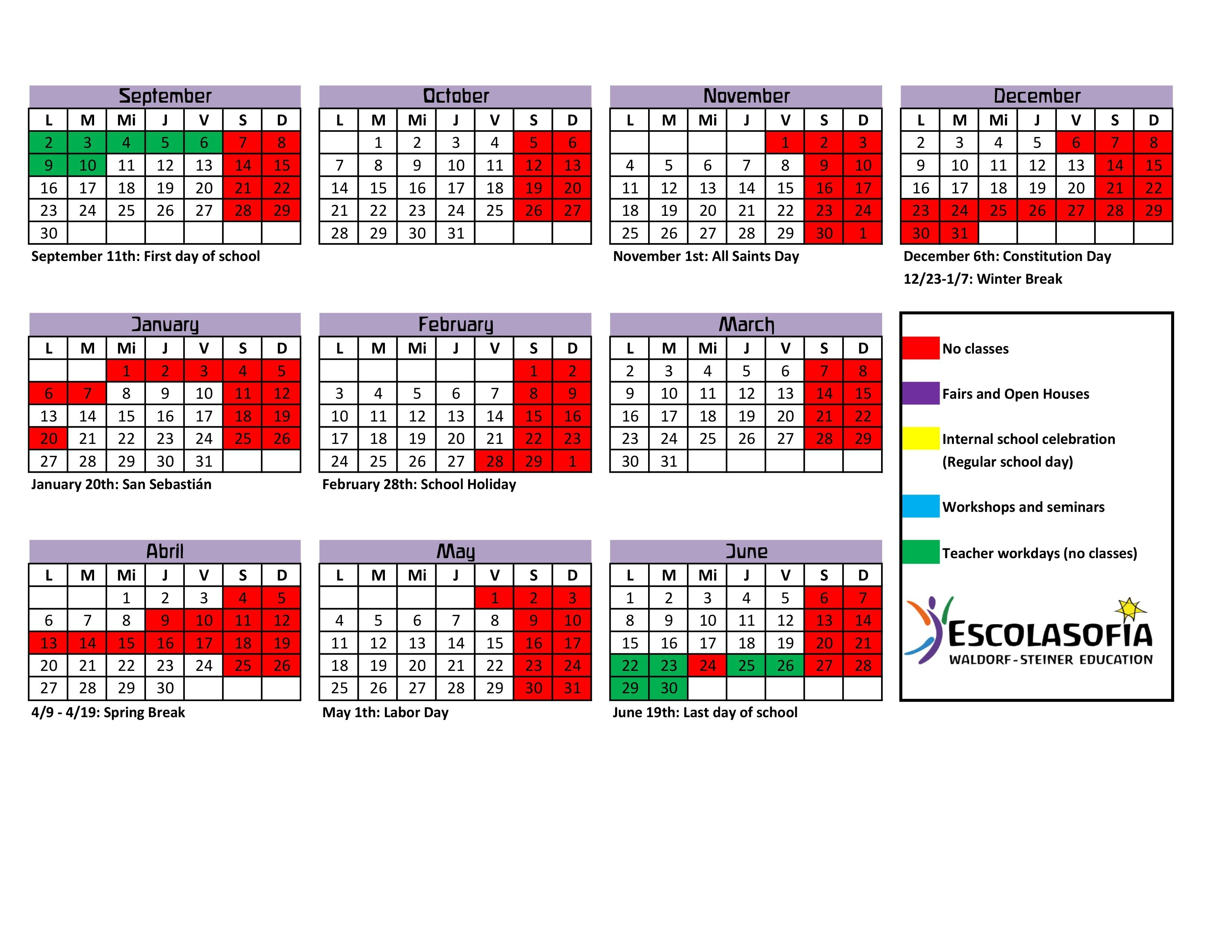 Escolasofia School Calendar 2019-20 - Waldorf Palma_St J School Calendar