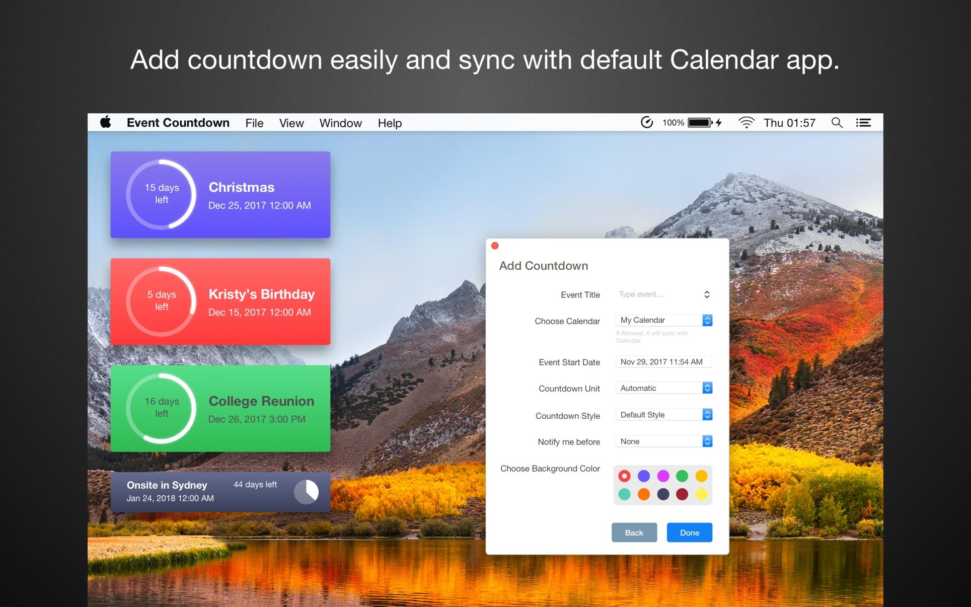 Event Countdown On The Mac App Store_Calendar Countdown For Desktop