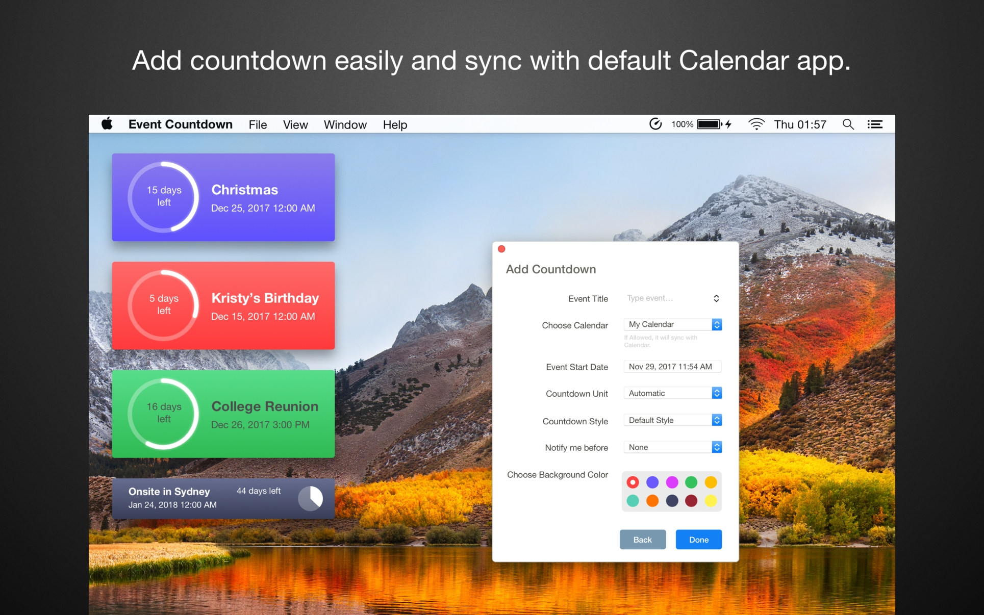 Event Countdown On The Mac App Store_Countdown Calendar Widget Mac
