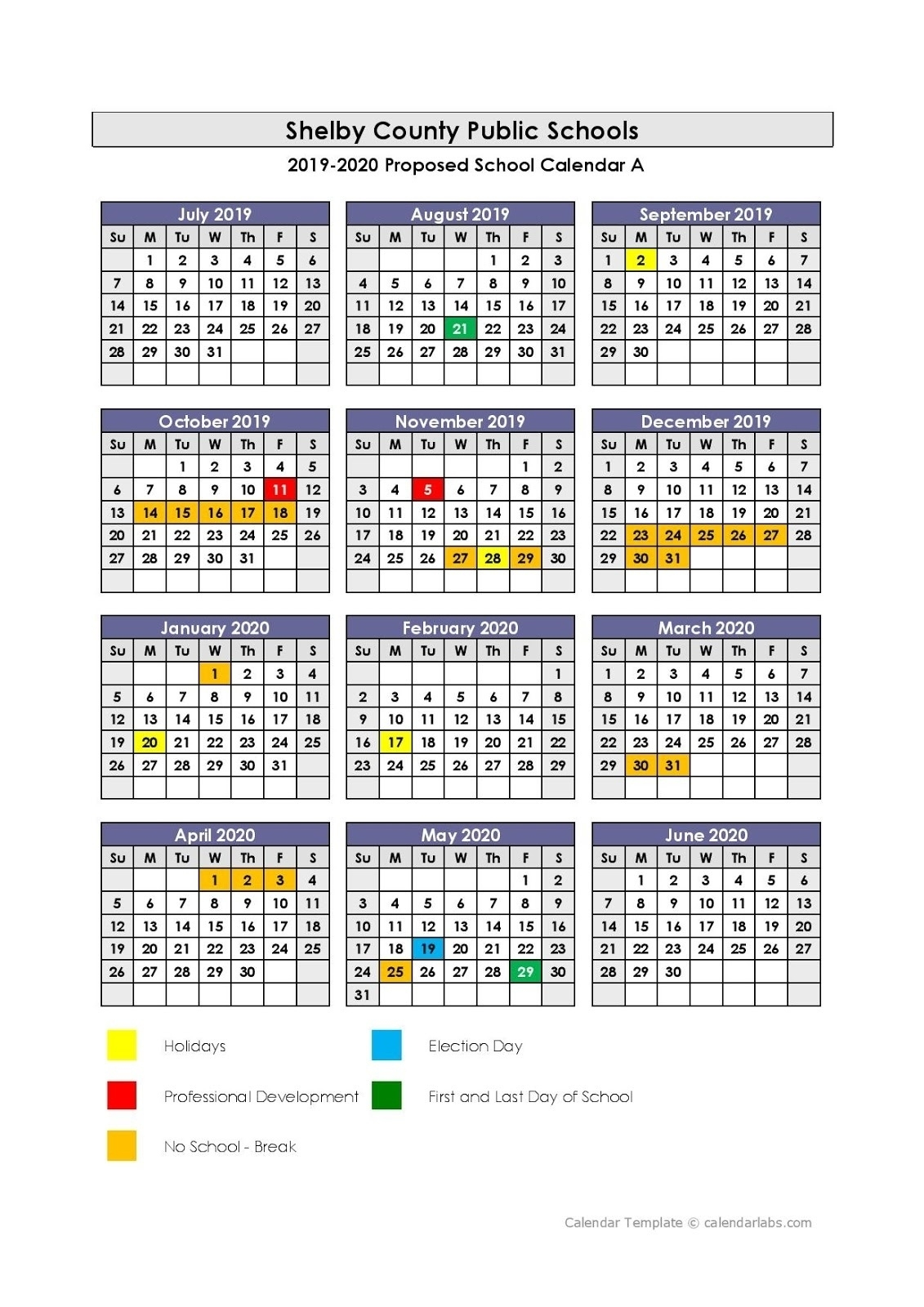 Exceptional Ps 8 School Calendar • Printable Blank Calendar Template_Ps 8 School Calendar