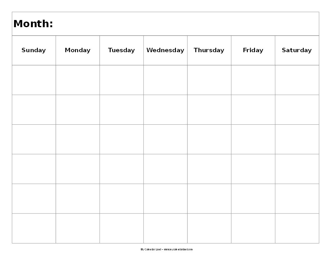 Extraordinary Blank Calendar 6 Weeks • Printable Blank Calendar Template_Blank Calendar Template 6 Weeks