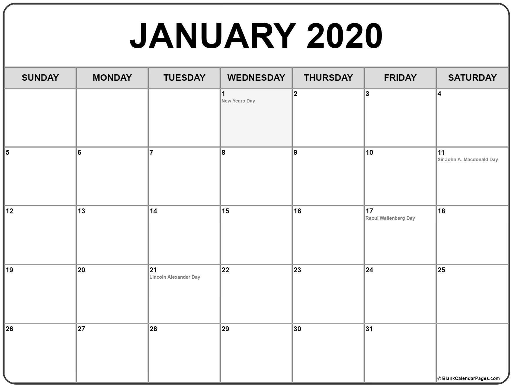 Extraordinary January 2020 Calendar Canada • Printable Blank_Blank Calendar Canada 2020