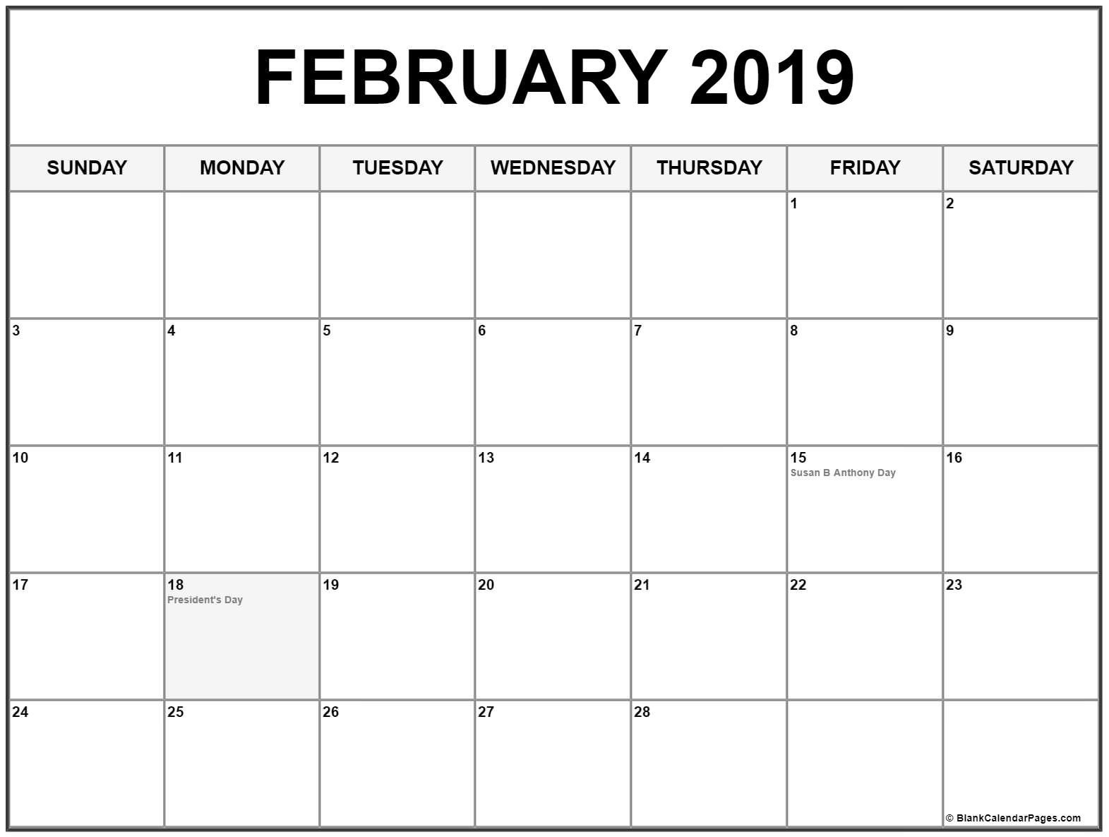 February 2019 Calendar With Holidays #february #2019 #calendar_Blank Calendar With Us Holidays