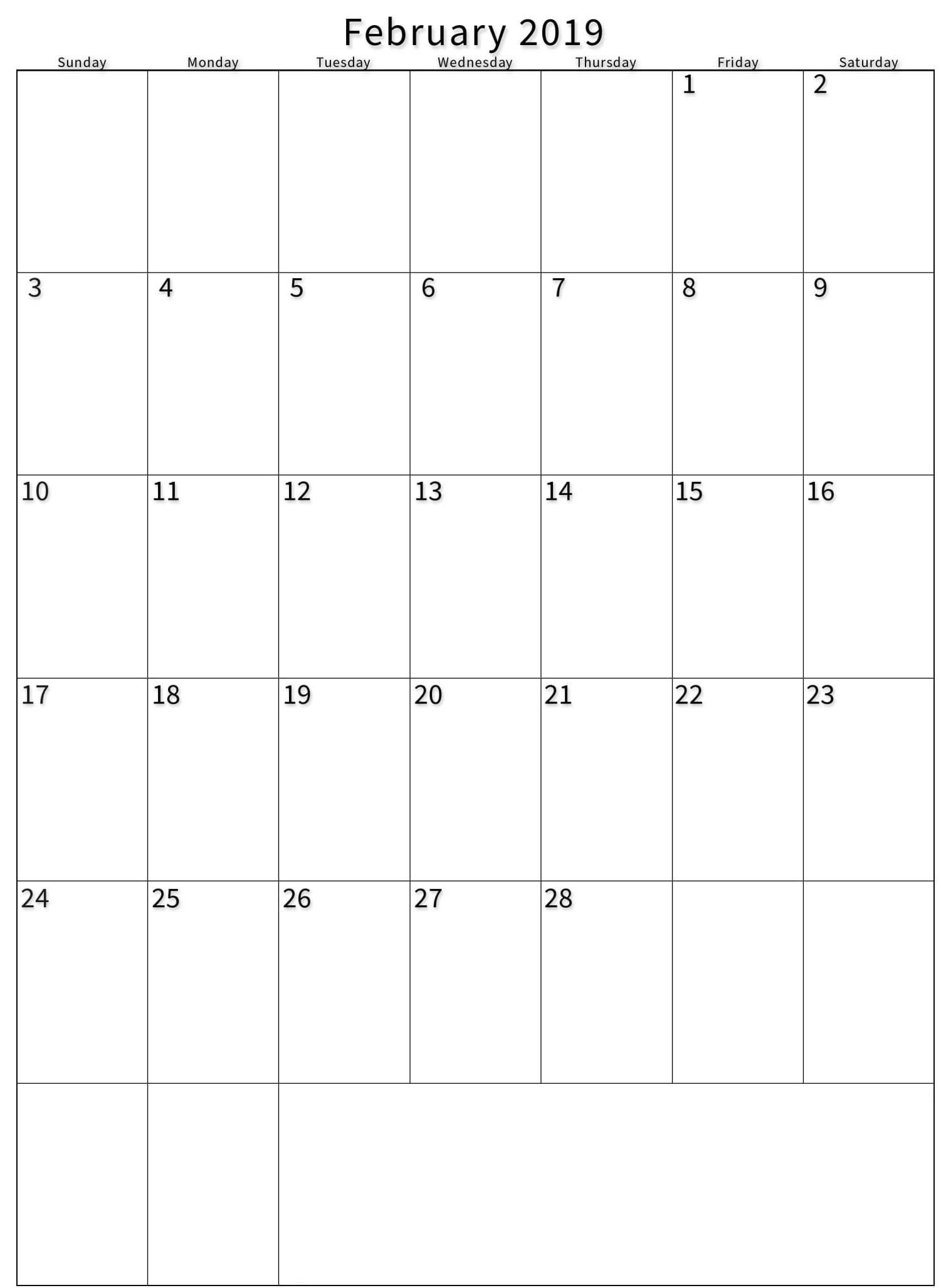 February 2019 Vertical Calendar Printable - Printable Calendar Templates_Blank Calendar Template Vertical