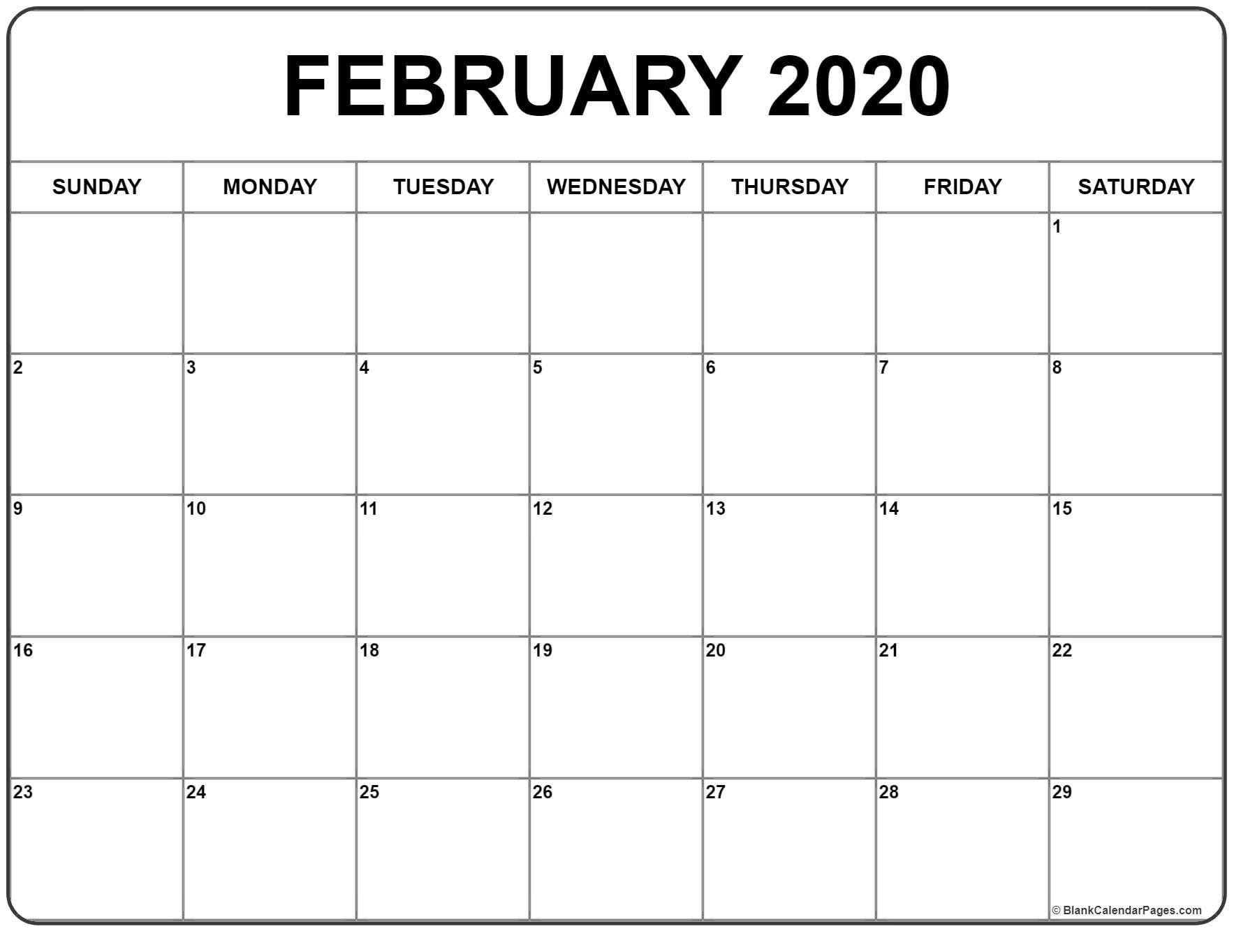 February 2020 Calendar | Free Printable Monthly Calendars_Calendar Blank February 2020