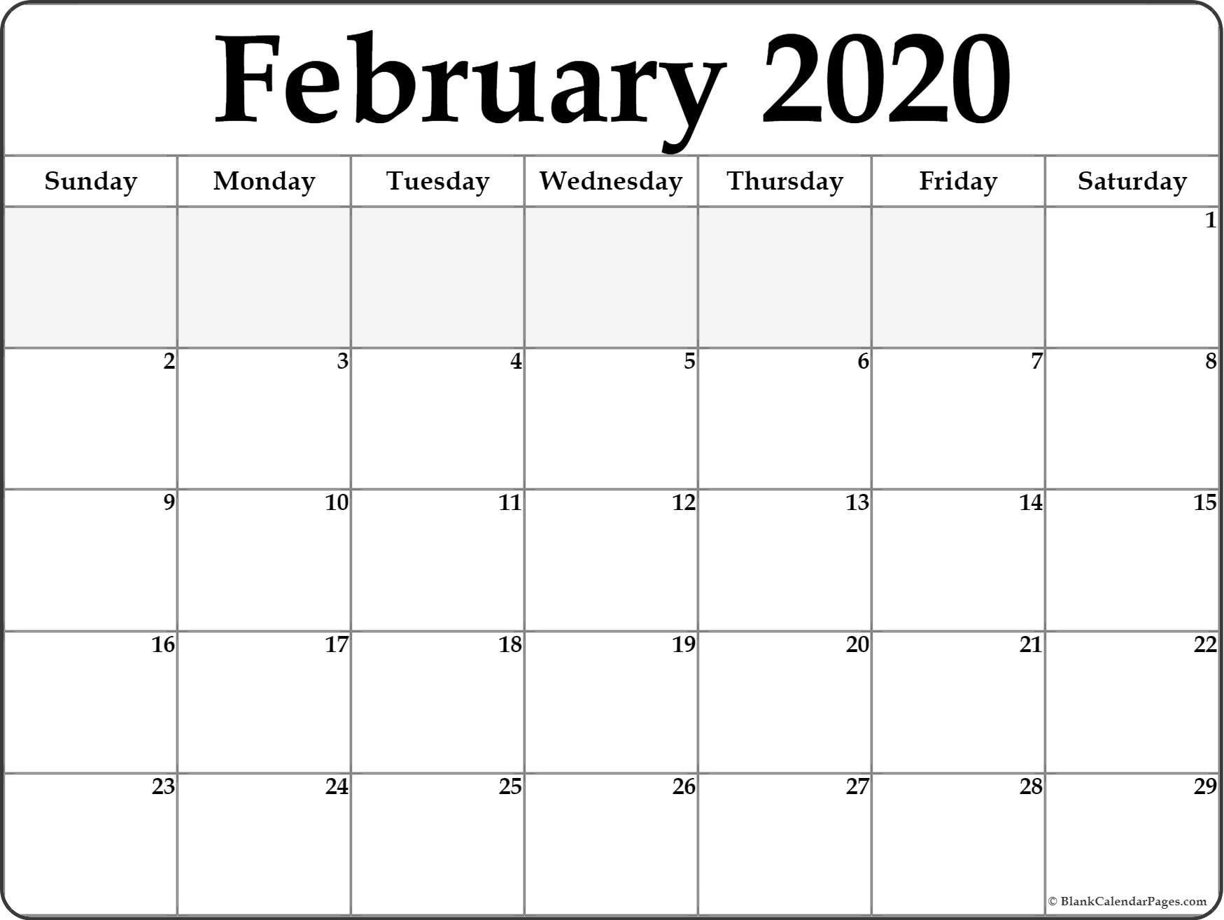 February 2020 Calendar  </p>   </div>        <br>     <div class=