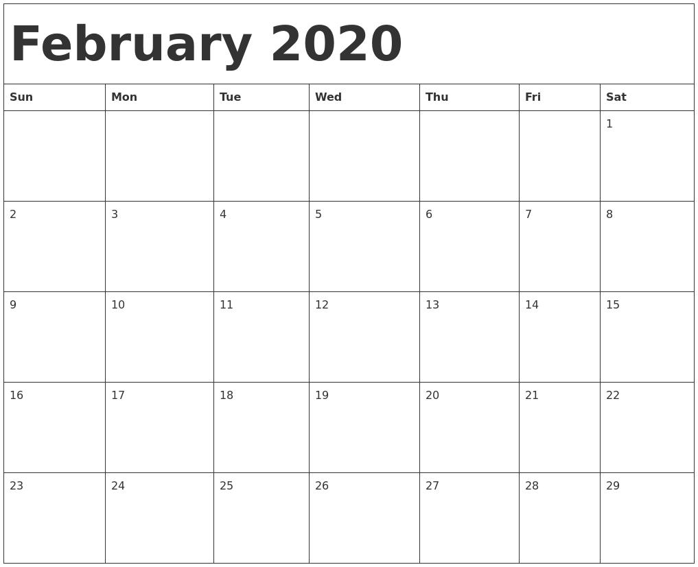 February 2020 Calendar Template_Blank Calendar Sheets 2020