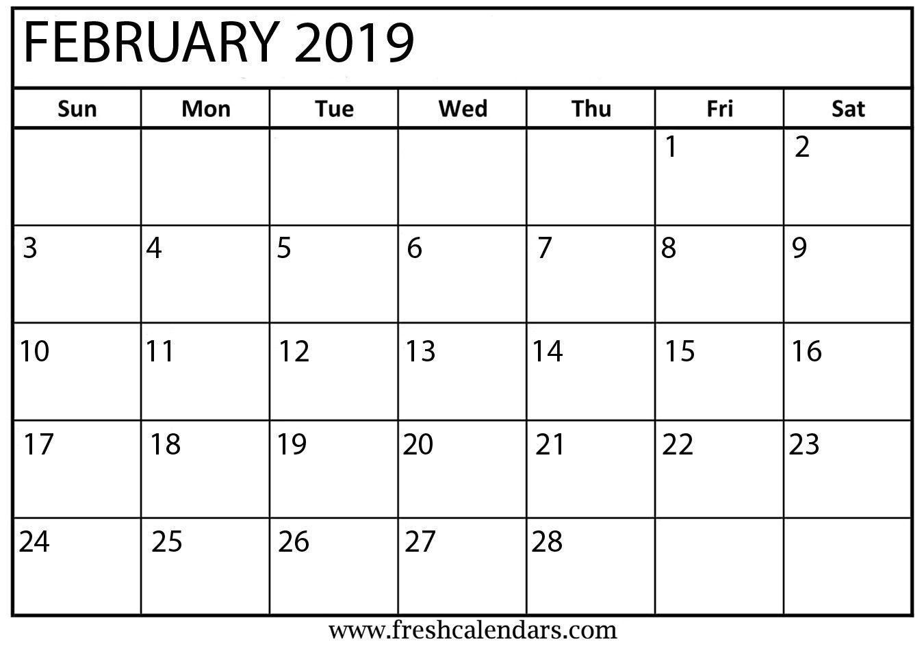 February Month Calendar 2019 Blank Template | Blank February 2019_Blank Calendar Template Kindergarten