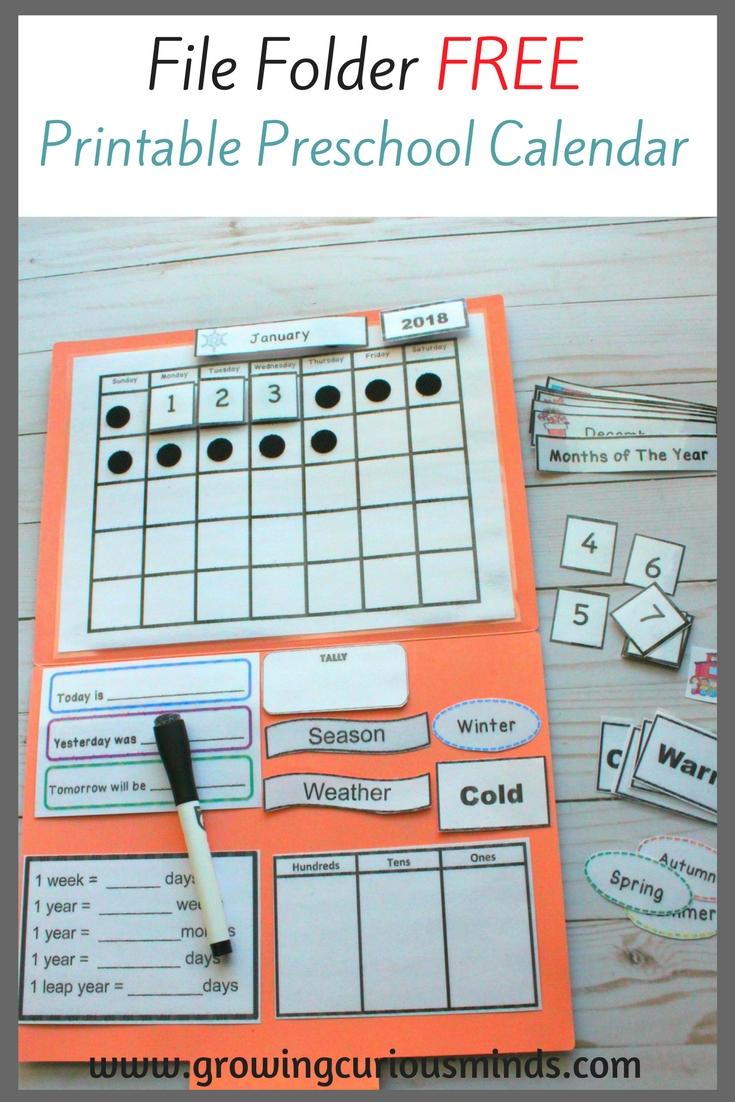 File Folder Free Printable Preschool Calendar | Littles Schoolwork_Free Printable Calendar For Preschool