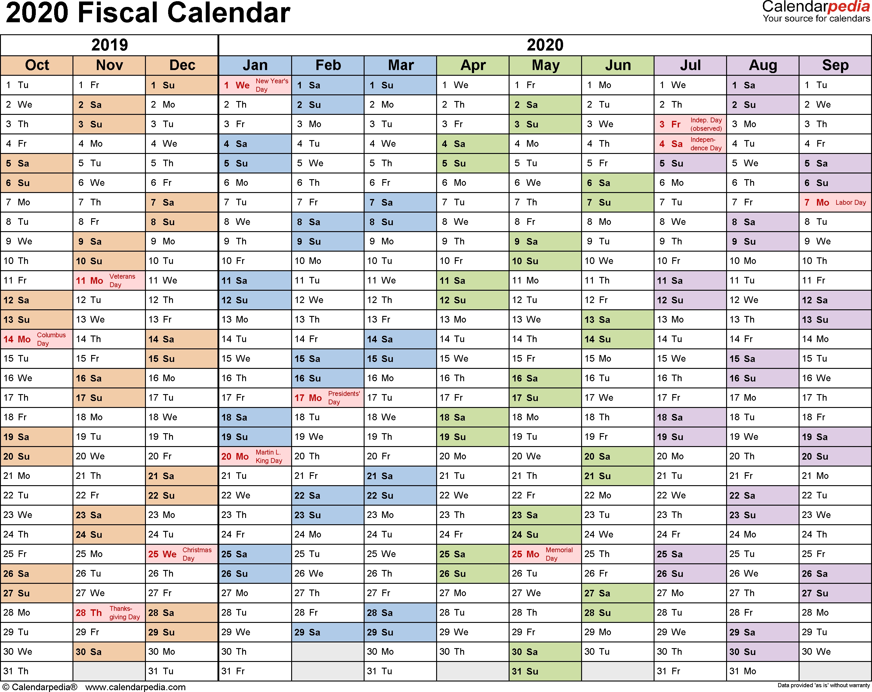Fiscal Calendars 2020 As Free Printable Word Templates_Blank Quarterly Calendar 2020