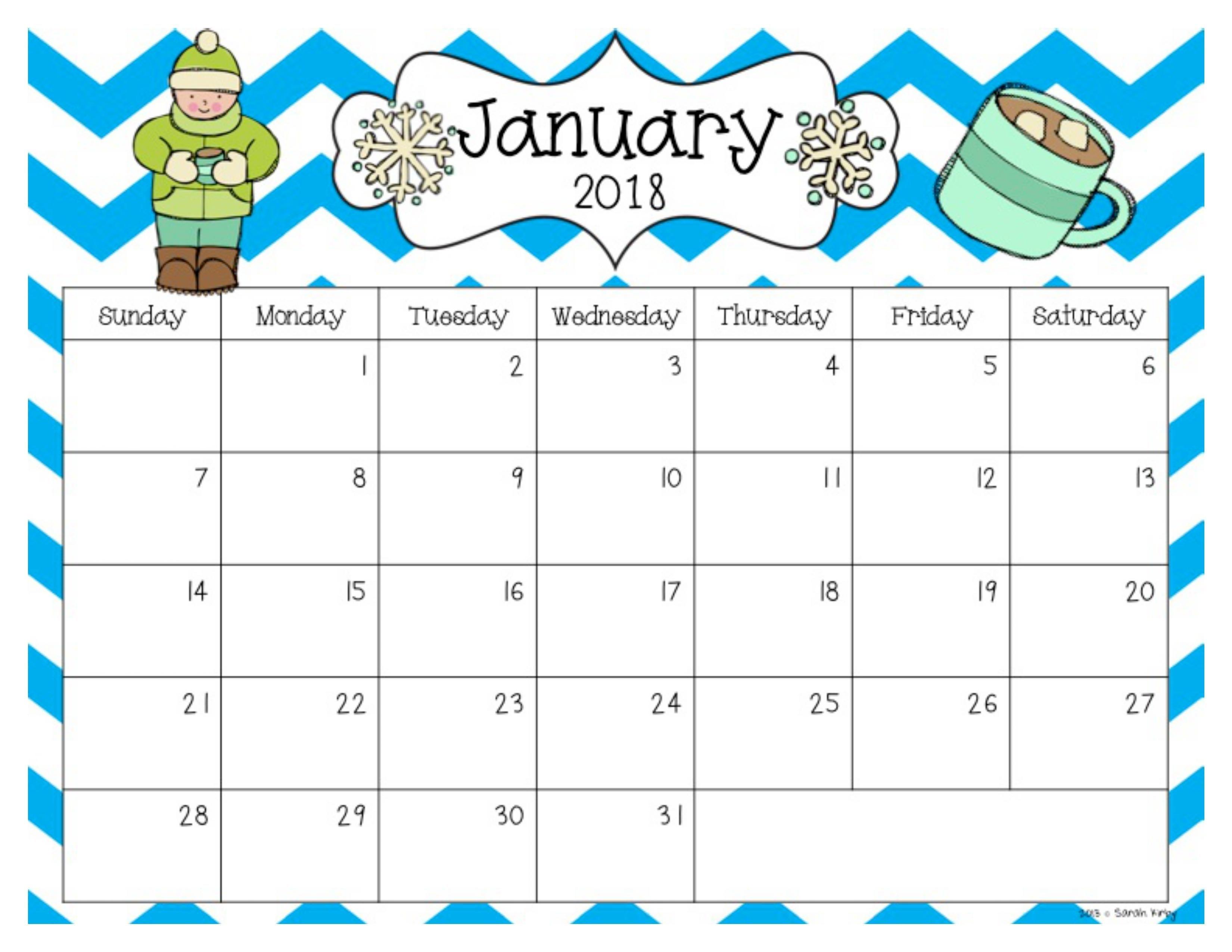 Free 2018 And 2019 Calendar | Classroom | Kindergarten Calendar_Blank Calendar Template Elementary School