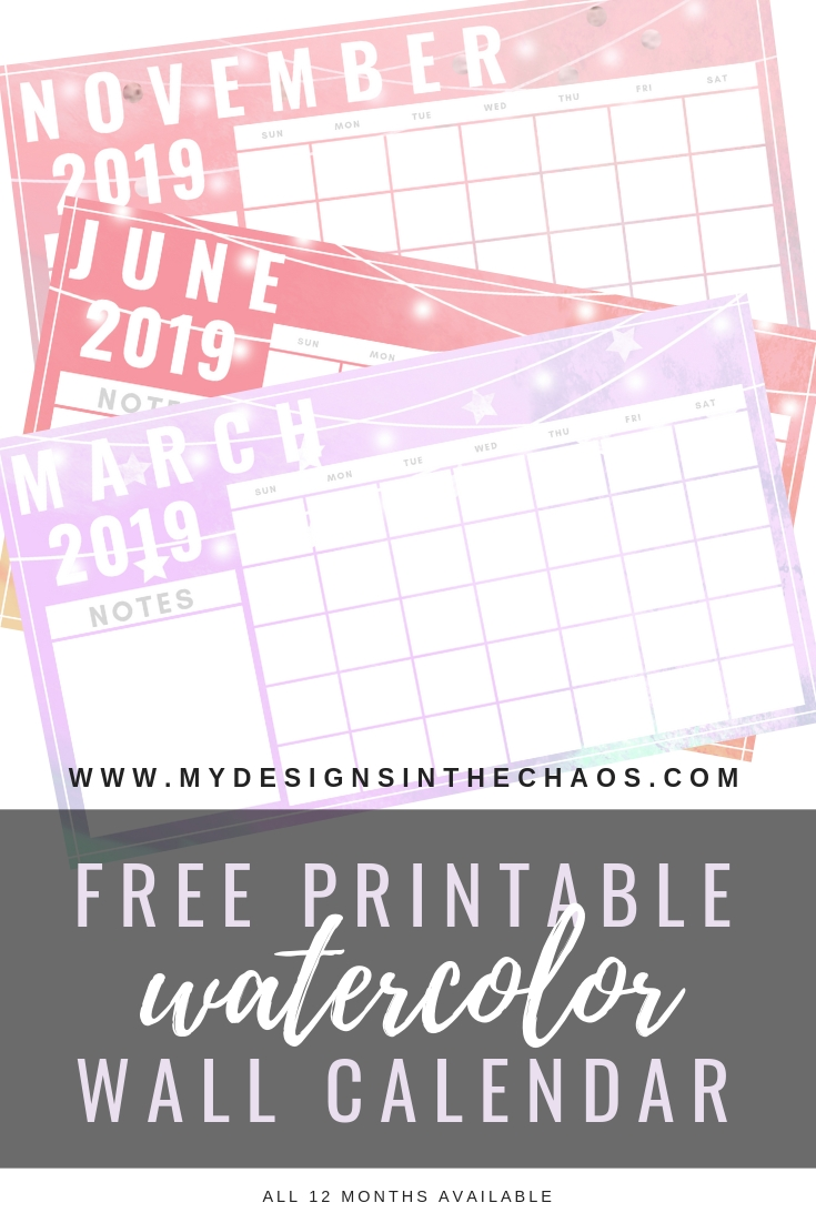 Free 2019 Printable Calendar - My Designs In The Chaos_Blank Calendar Hobby Lobby