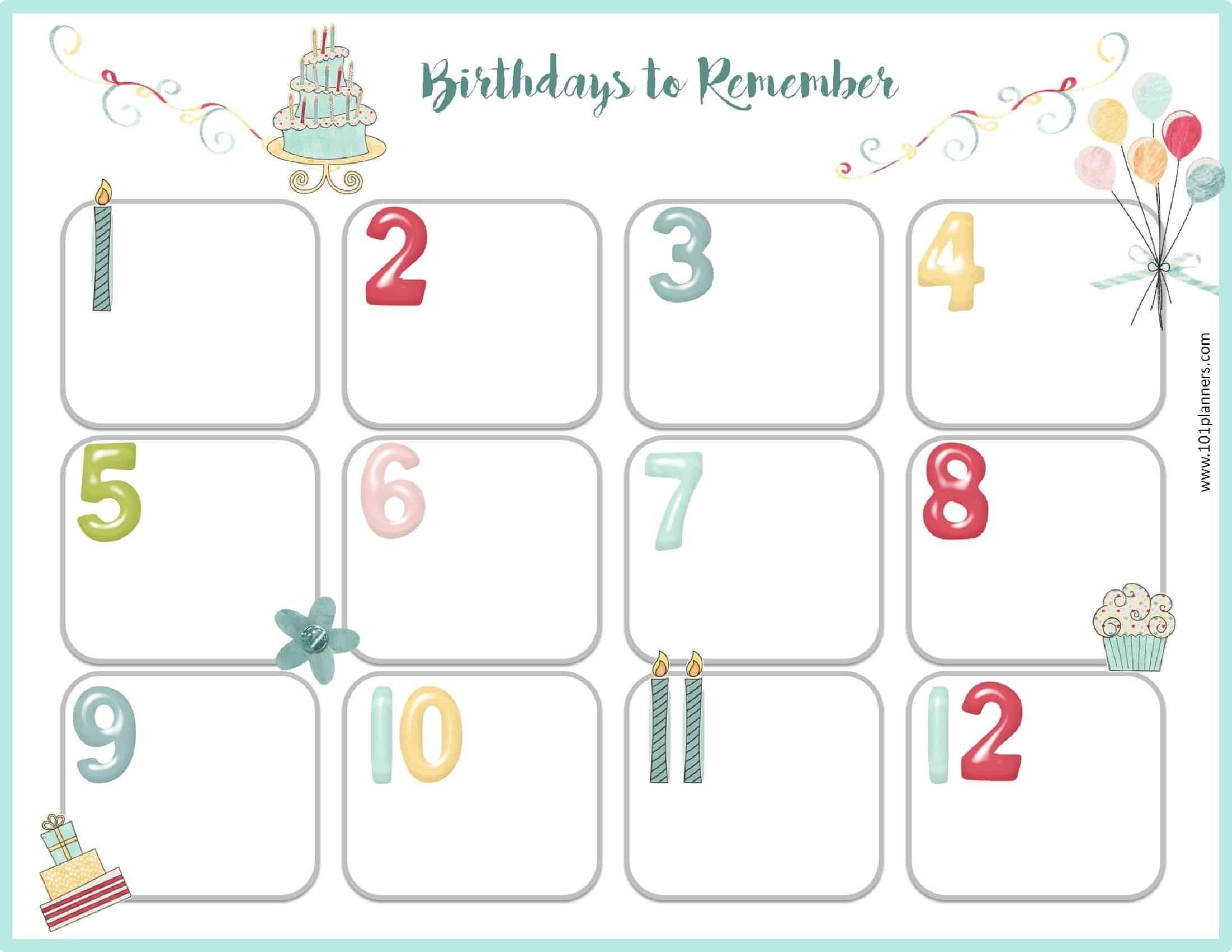 Free Birthday Calendar | Printable & Customizable | Many Designs!_Birthday Calendar Countdown Printable