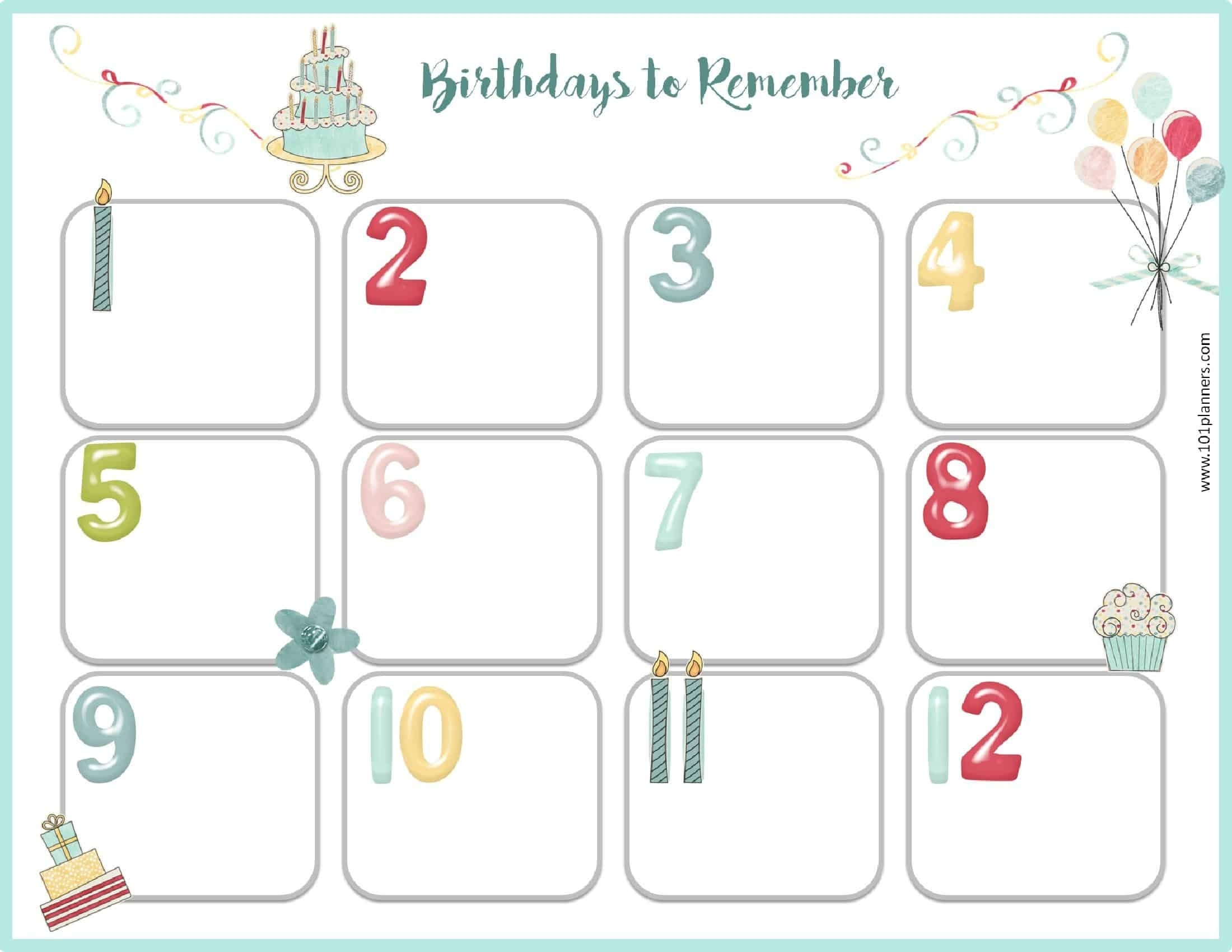 Free Birthday Calendar | Printable & Customizable | Many Designs!_Countdown Calendar Birthday Printable