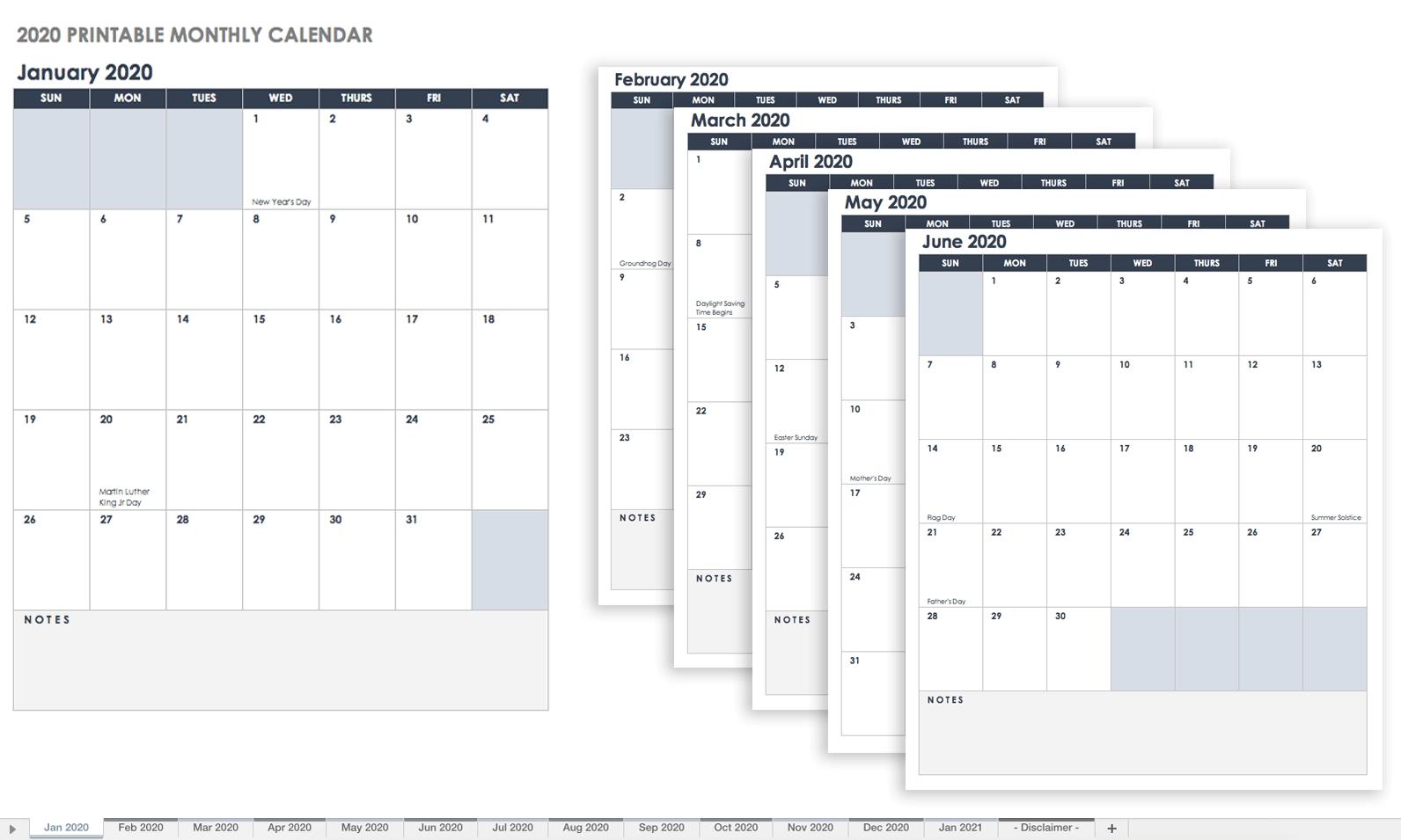 Free Blank Calendar Templates - Smartsheet_Blank Calendar 4 Weeks