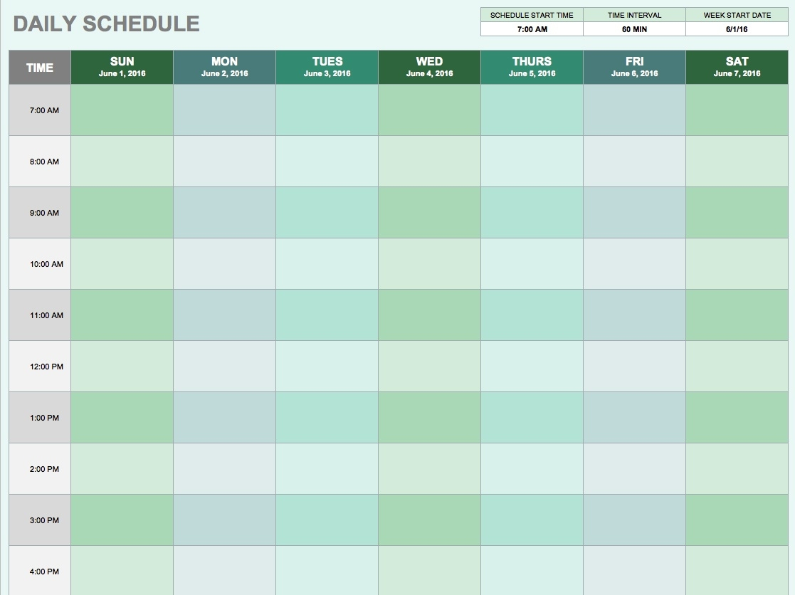 Free Daily Schedule Templates For Excel - Smartsheet_Blank Calendar Daily Schedule