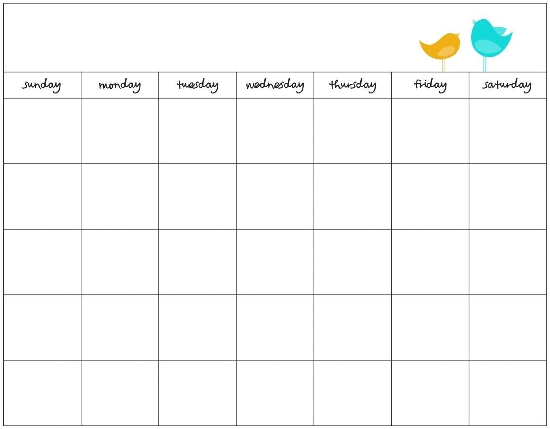 Free Day Blank Calendar Week Template Ble | Smorad_Free 7 Day Blank Calendar