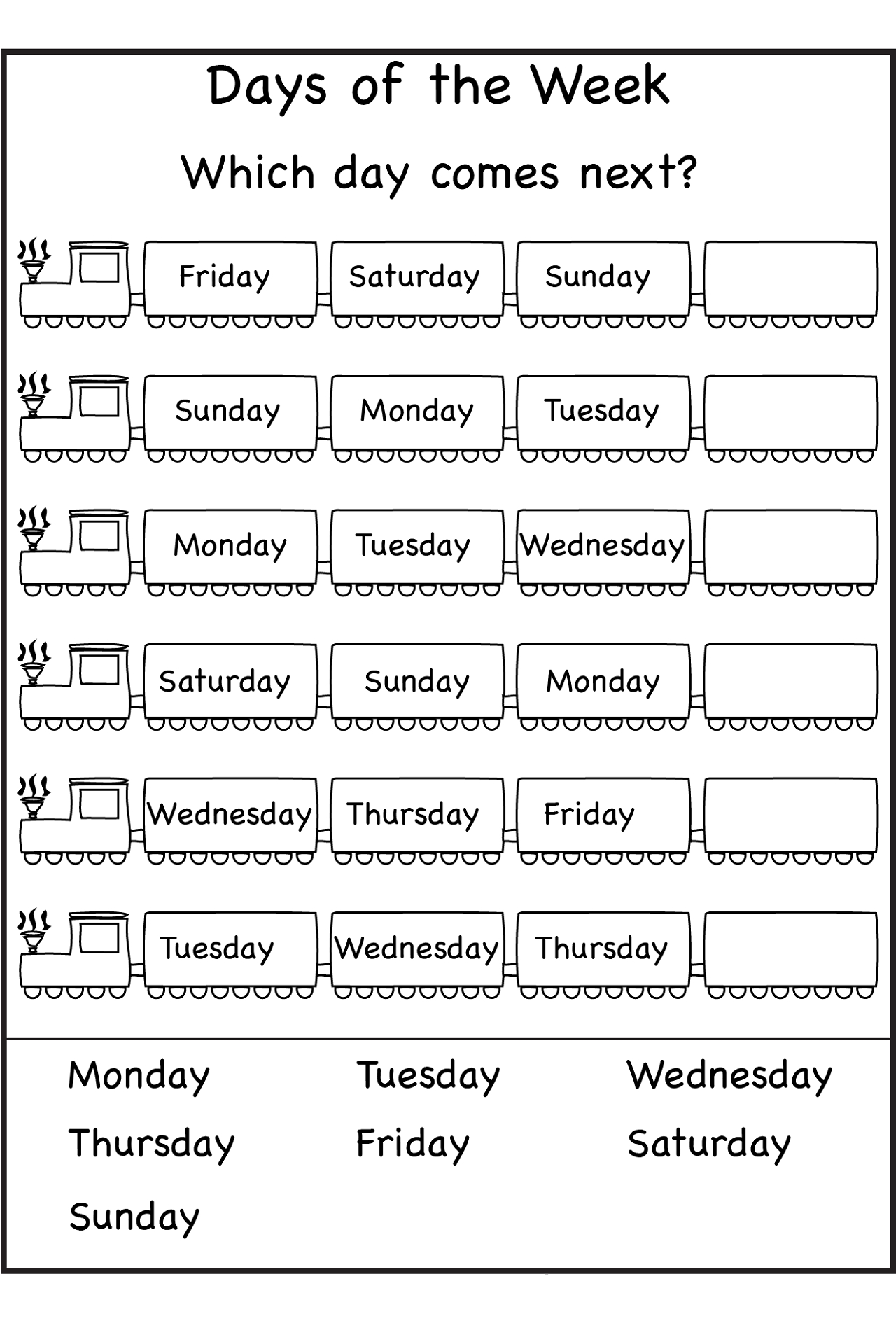 Free Days Of The Week Worksheets  </p>   </div>        <br>     <div class=