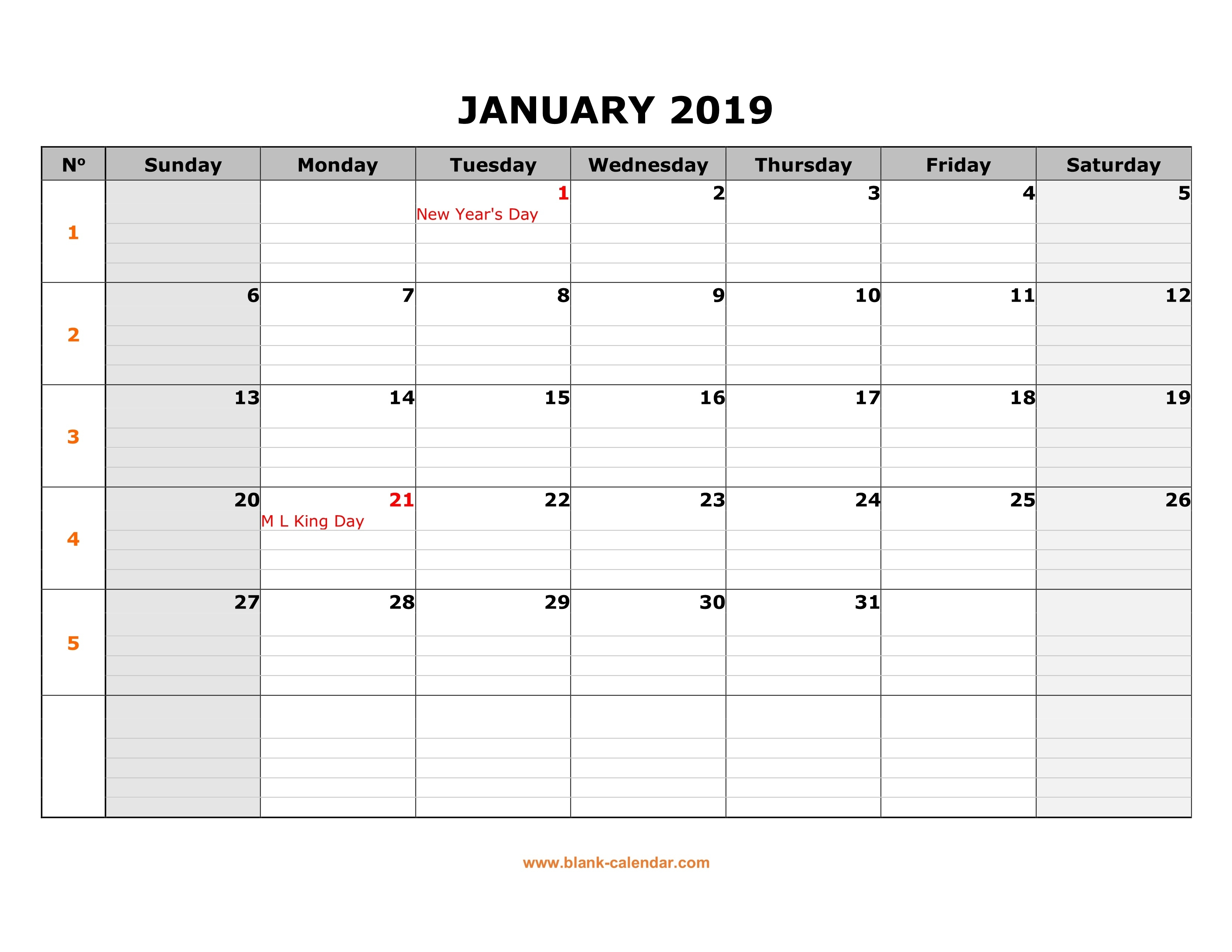 Free Download Printable Calendar 2019, Large Box Grid, Space For Notes_Large Blank Calendar Grid