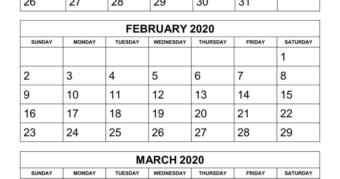 Free Download Printable Calendar 2020, 3 Months Per Page, 4 Pages_Blank Calendar 2020 3 Month