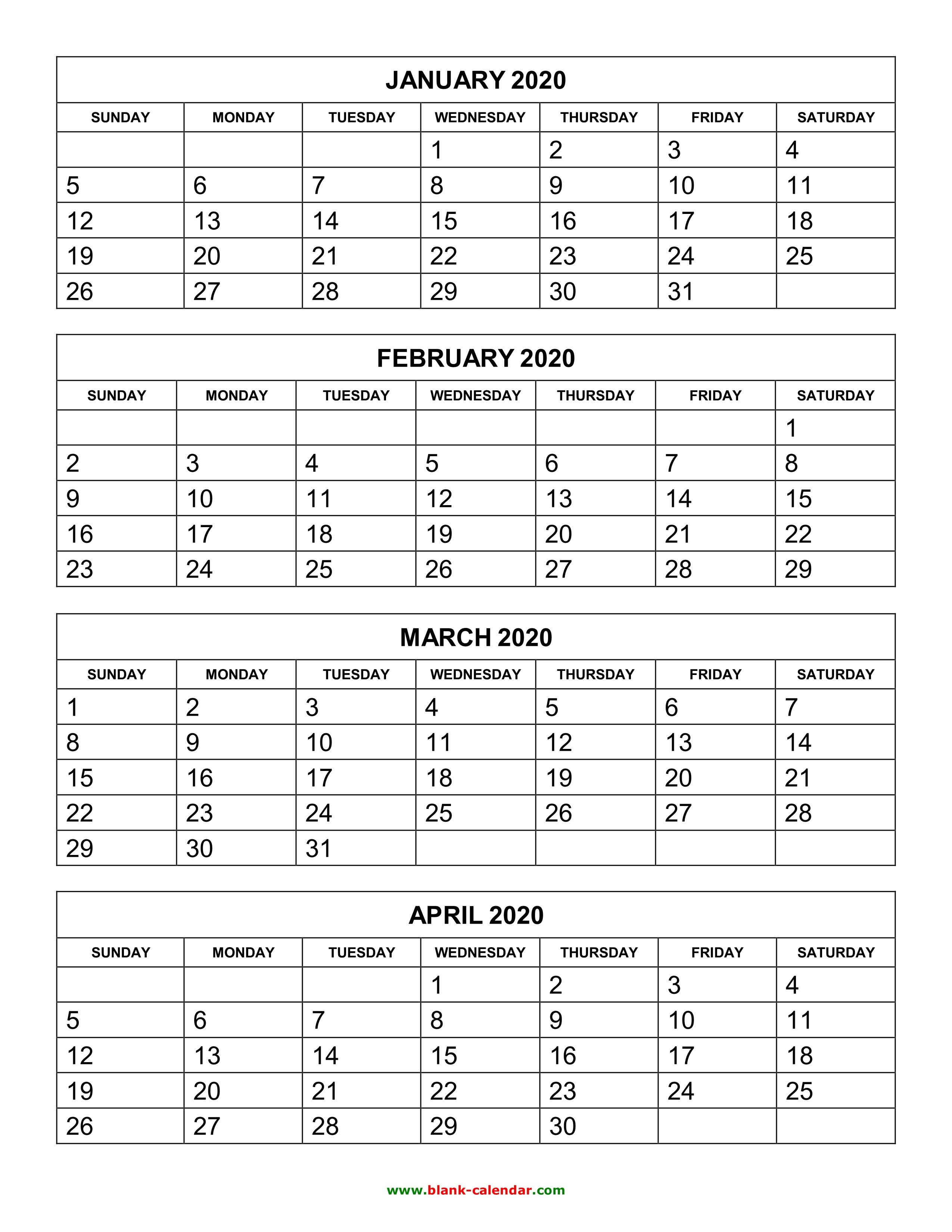 Free Download Printable Calendar 2020, 4 Months Per Page, 3 Pages_Blank Calendar 2020 3 Month