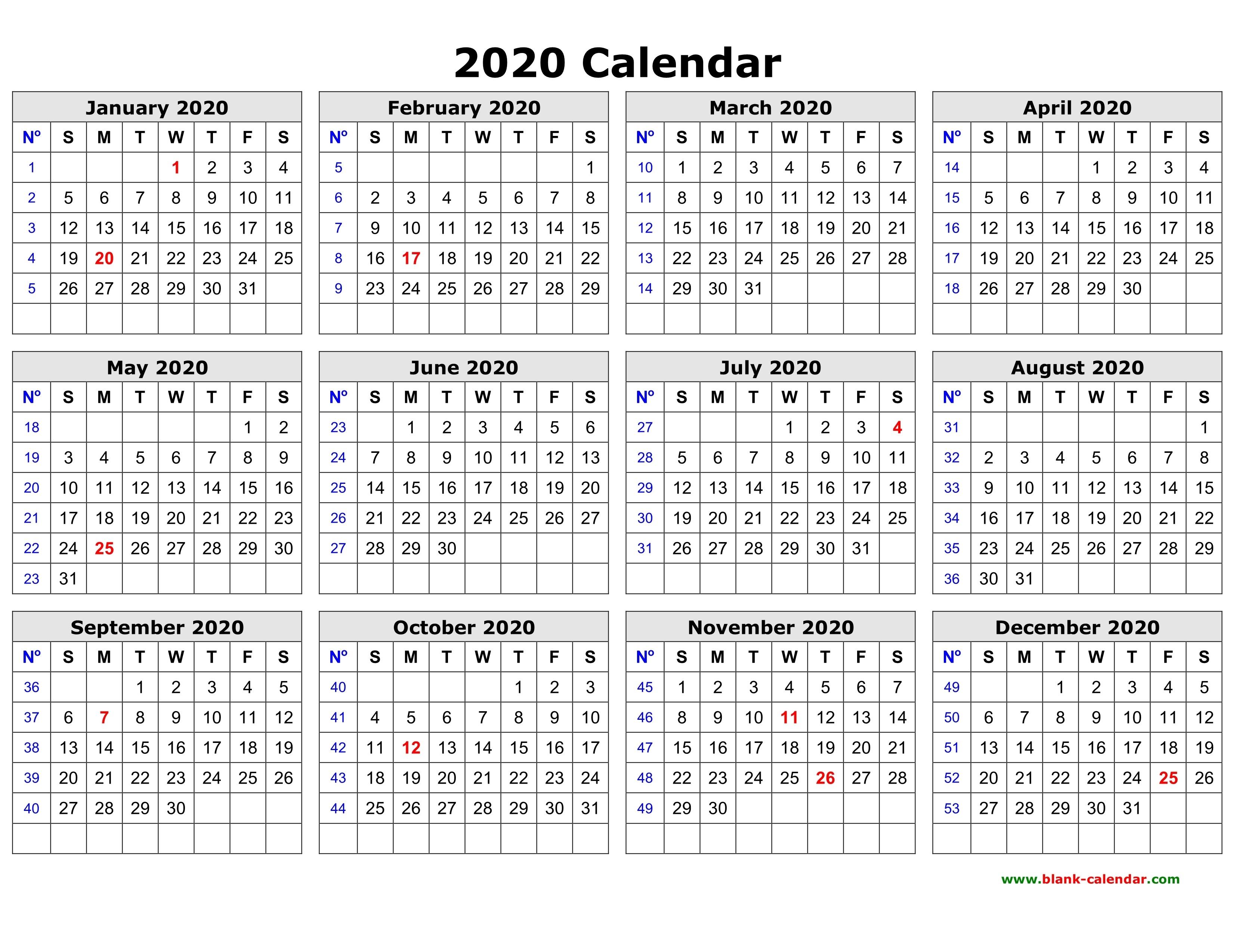 Free Download Printable Calendar 2020 In One Page, Clean Design._Printable Calendar Blank 2020