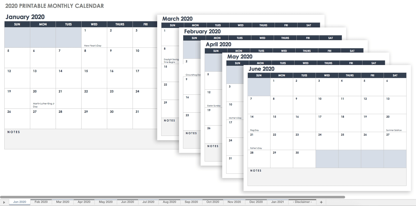 Free Excel Calendar Templates_Blank Calendar Template By Month 2020