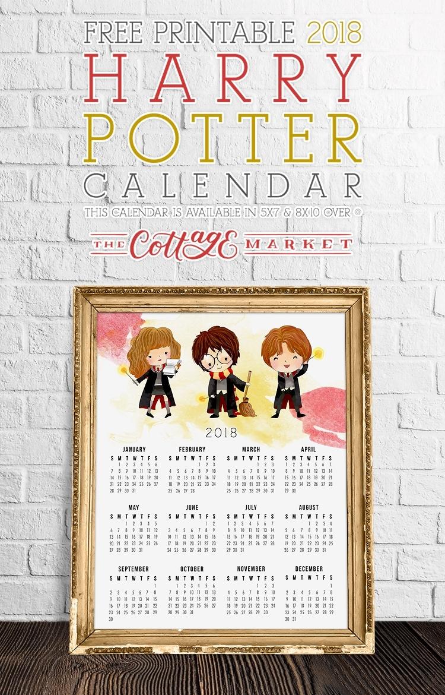 Free Harry Potter Printable Calendar | The Cottage Market_Countdown Calendar Harry Potter
