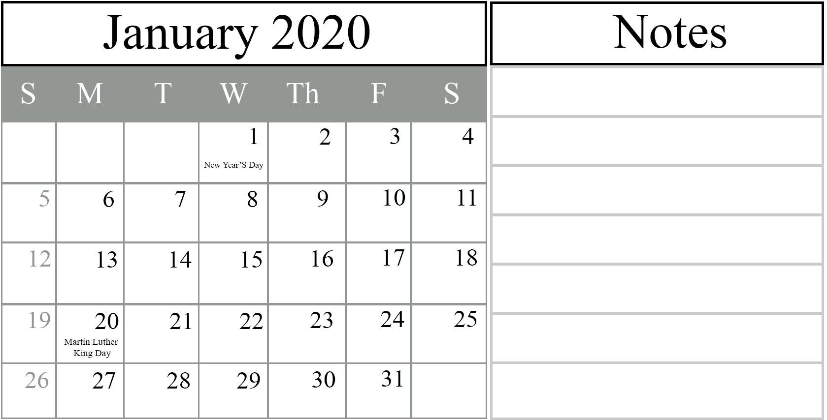 Free January 2020 Printable Calendar Blank In Pdf, Excel & Word_2020 Calendar Blank Excel