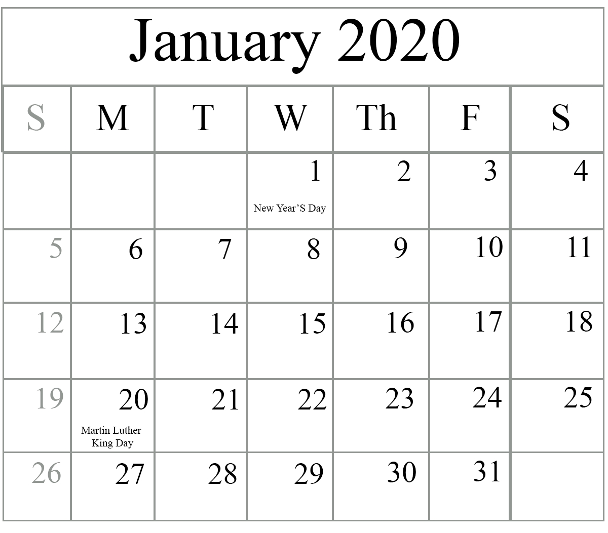 Free January 2020 Printable Calendar In Pdf, Excel & Word_Blank Calendar December 2020 And January 2020