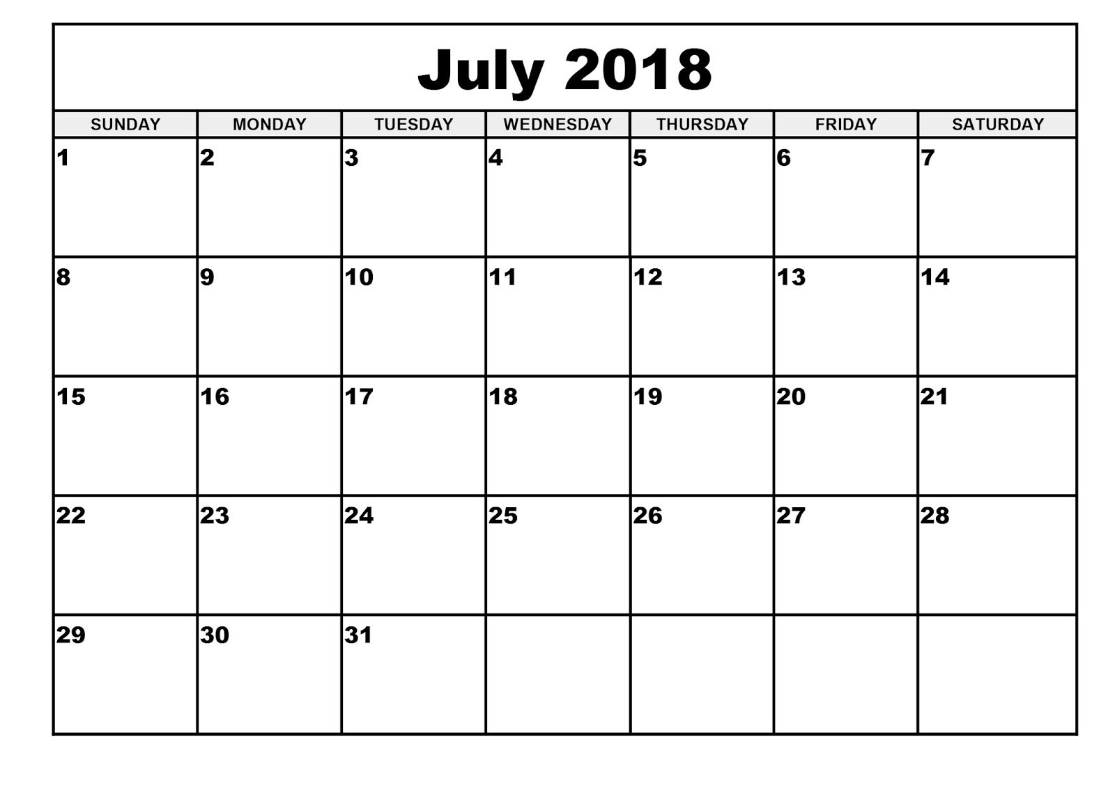 Free July 2018 Calendar Printable Blank Templates - Word Pdf_Blank Calendar Can Type In