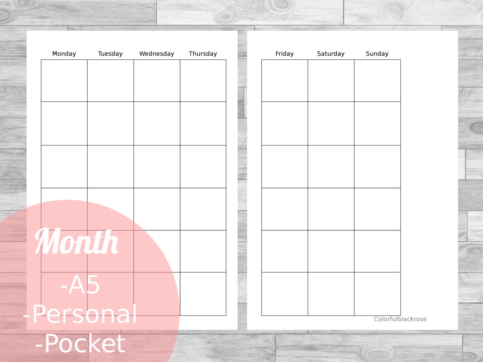 Free Planner Printables For Your Filofax / Kikki K / Websters Pages_Kikki K Blank Calendar