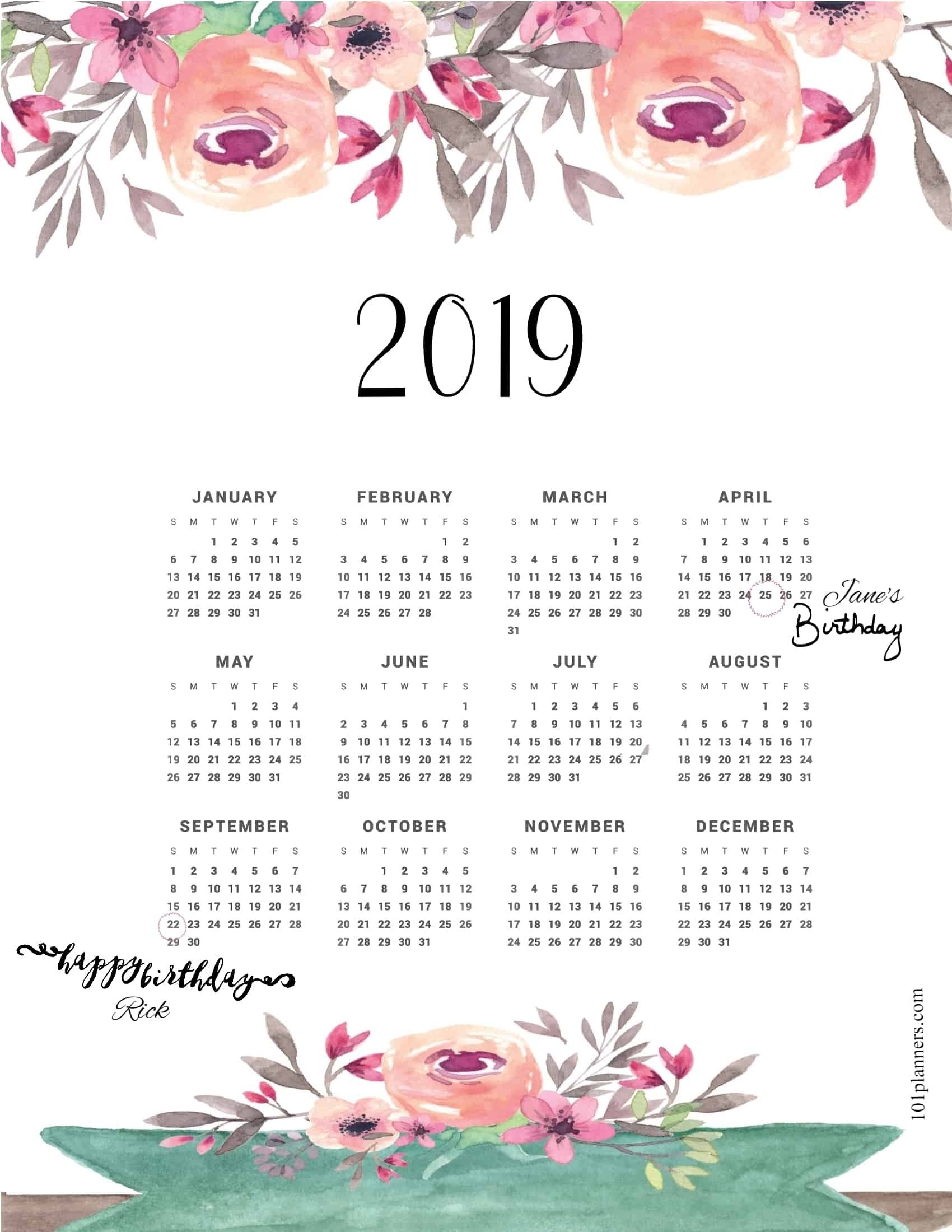 Free Printable 2019 Yearly Calendar At A Glance  </p>   </div>        <br>     <div class=