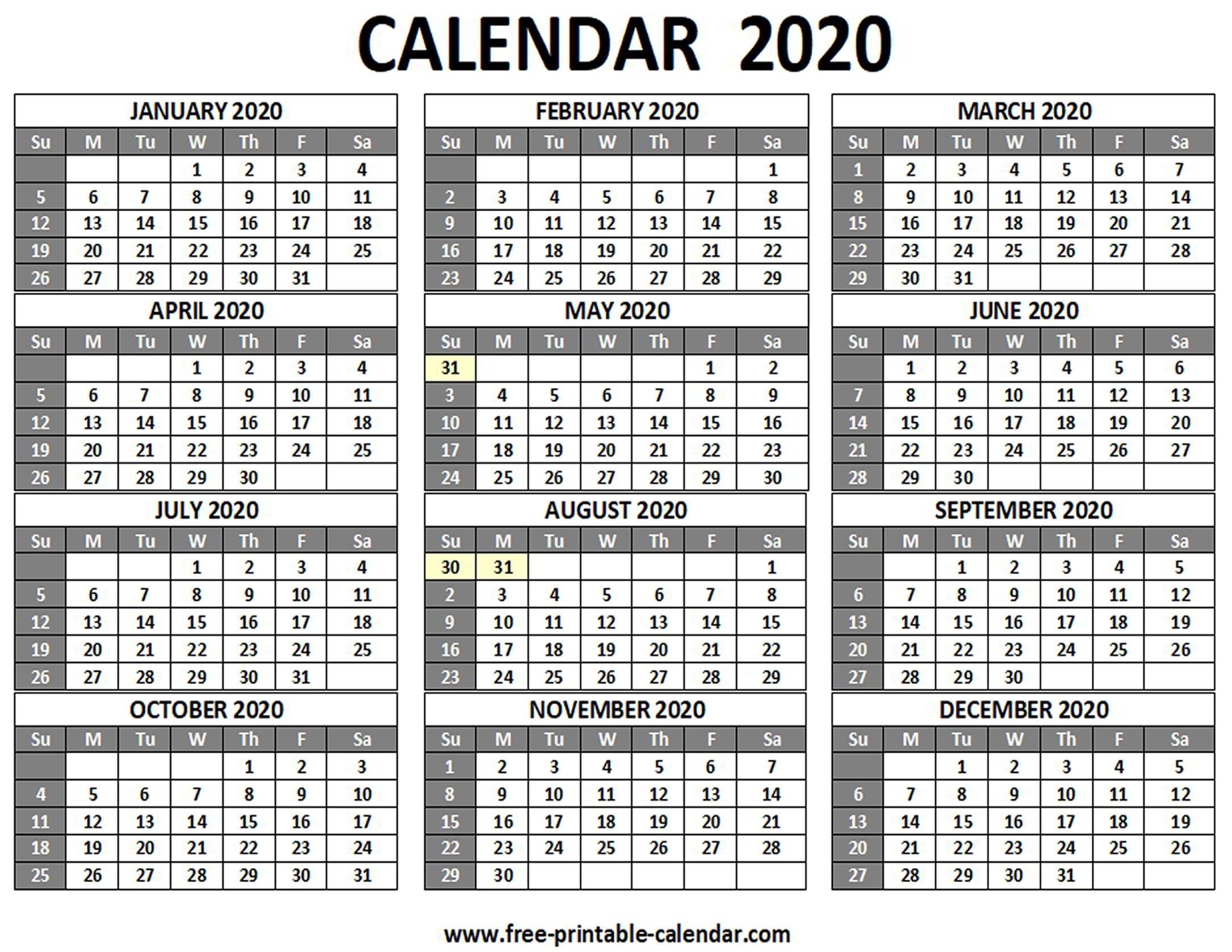 Free Printable 2020 Calendar With Holidays Singapore - 15+ December_Blank Calendar 2020-19 Pdf