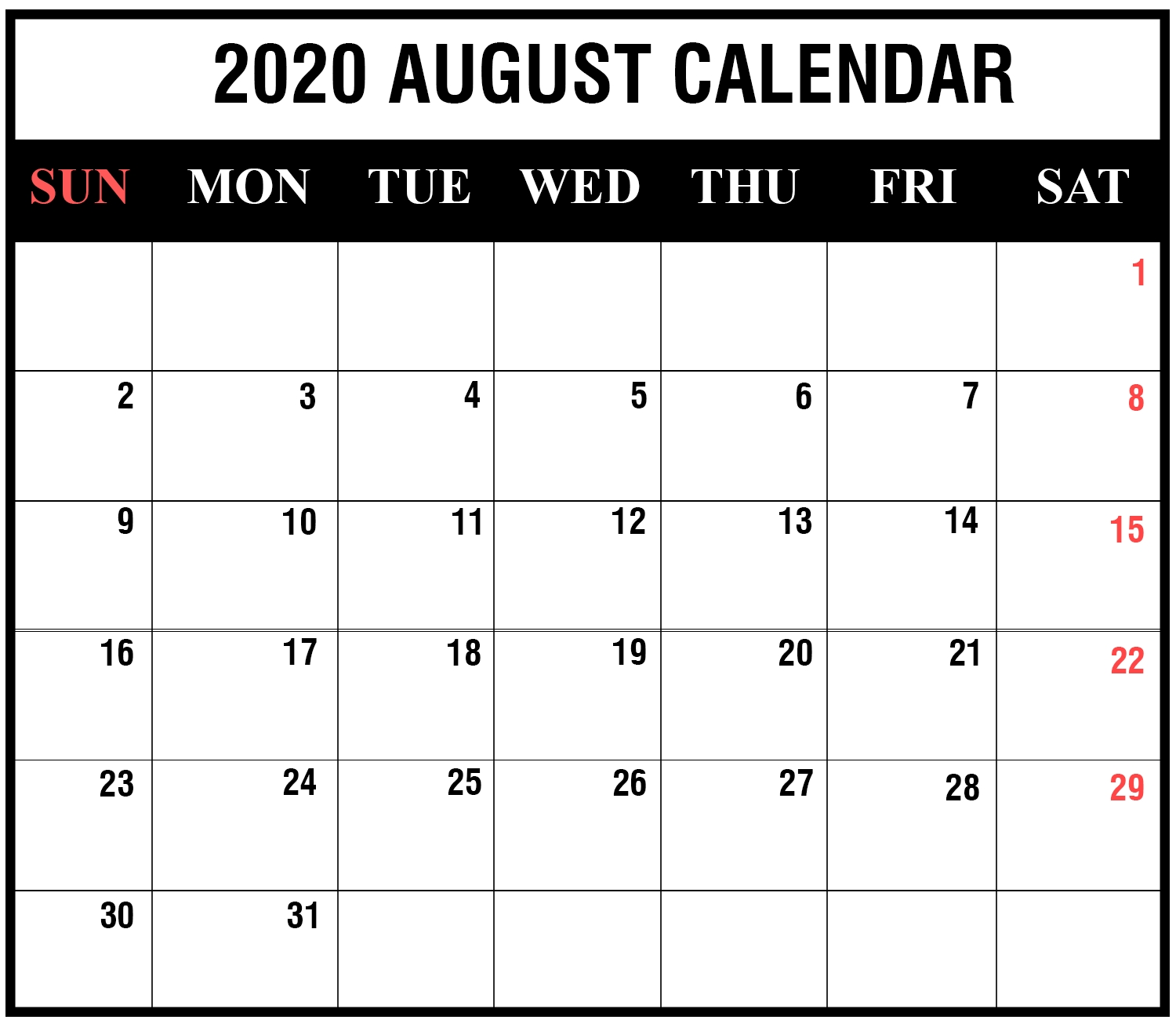 Free Printable August 2020 Calendar Templates [Pdf,word,excel_Blank Calendar August 2020 Pdf
