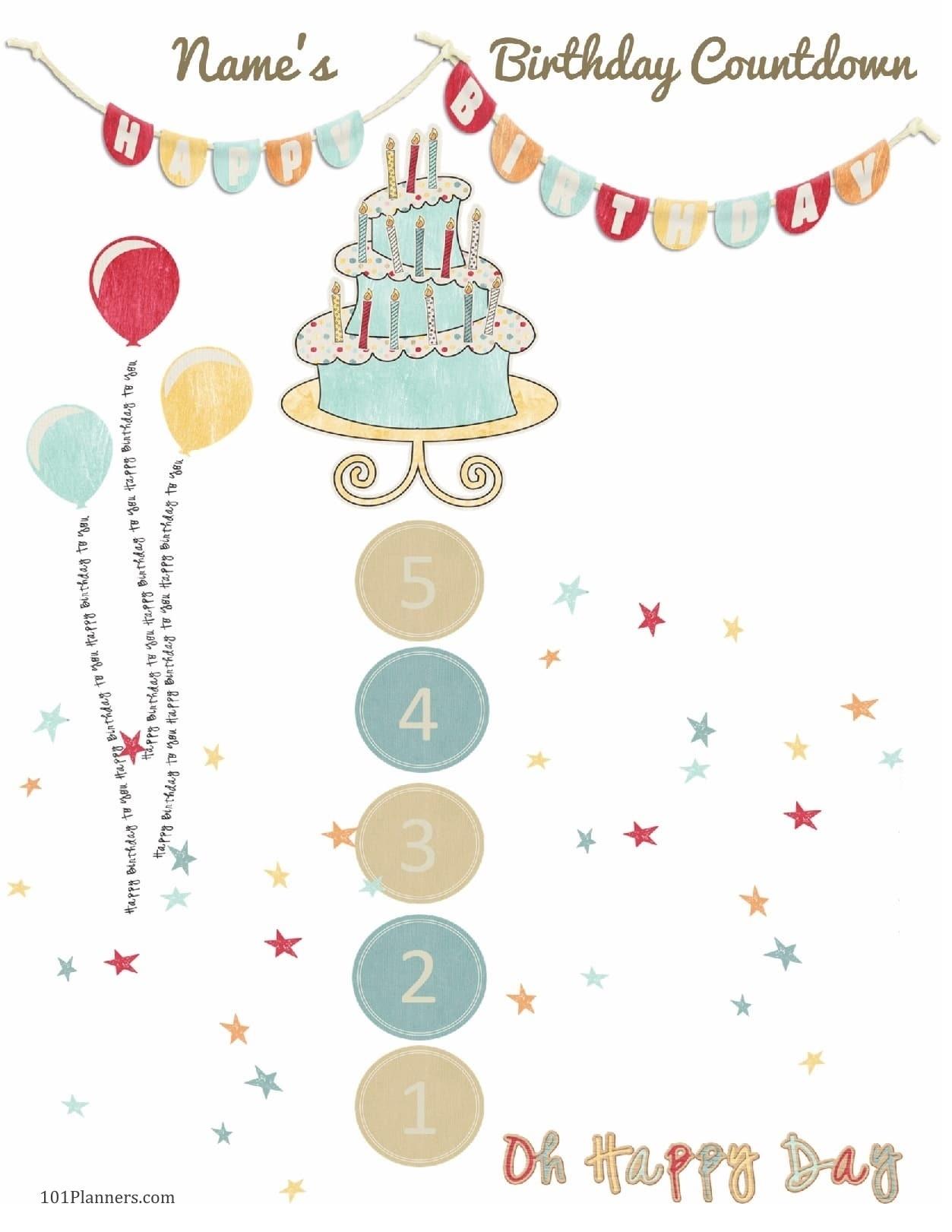 Free Printable Birthday Countdown | Customize Online_Birthday Calendar Countdown Printable