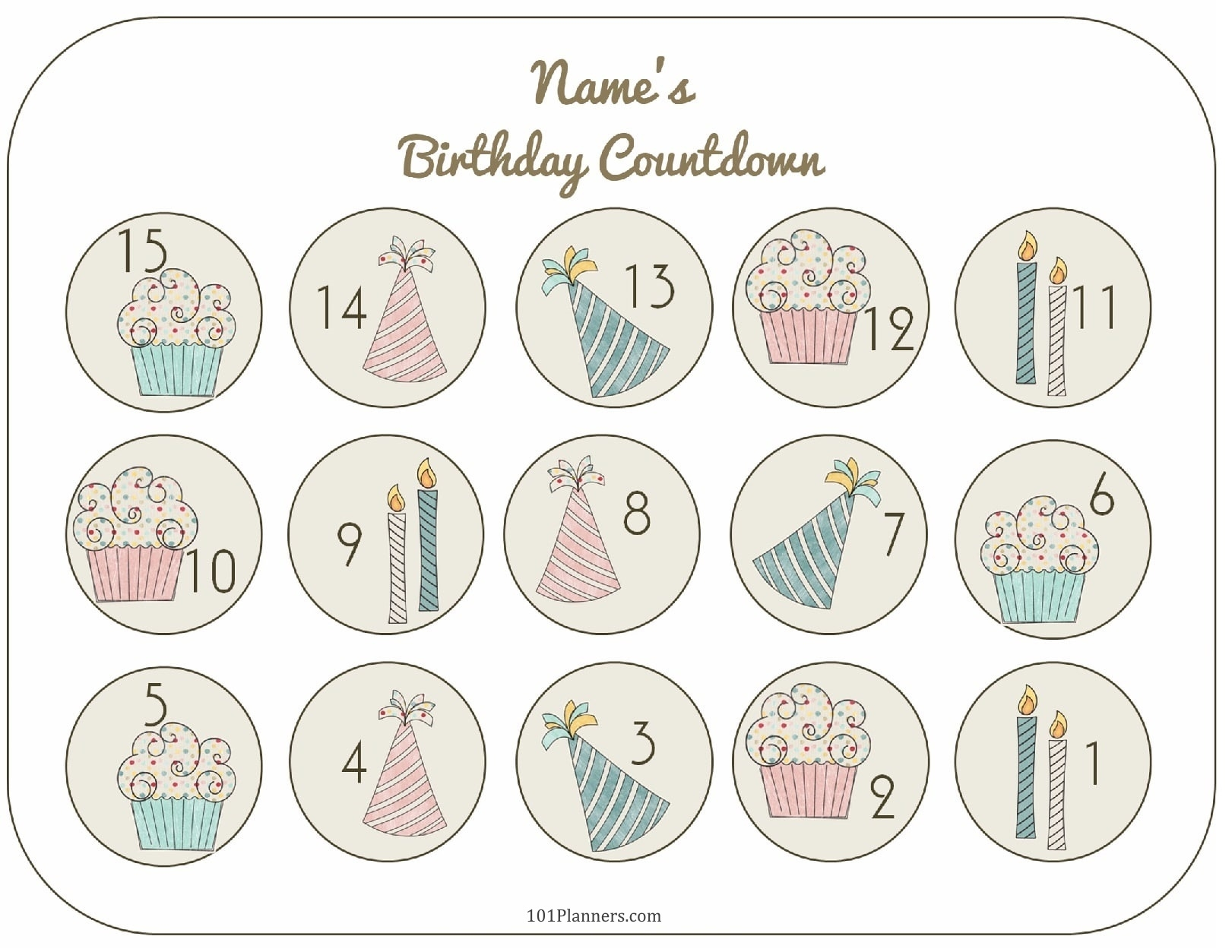 Free Printable Birthday Countdown | Customize Online_Countdown Calendar Birthday Printable
