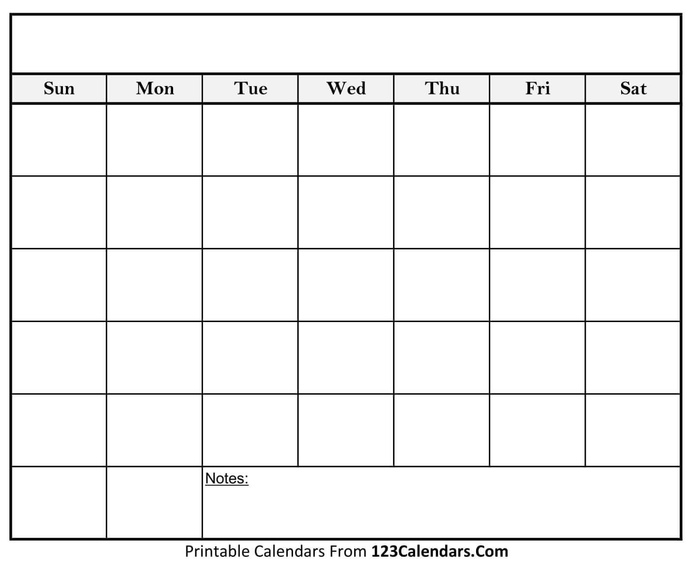 Free Printable Blank Calendar | 123Calendars_A Printable Blank Calendar
