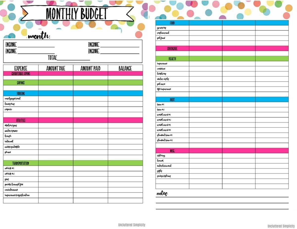 Free Printable Budget Planning Worksheets_Blank Calendar For Budget