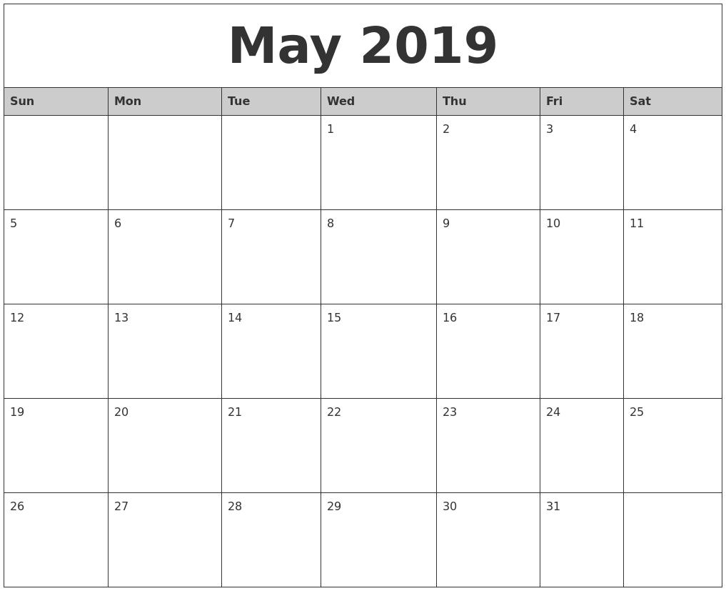 Free Printable Calendar 2018: 2019 Editable Word, Excel Calendar_Printing Calendar In Word
