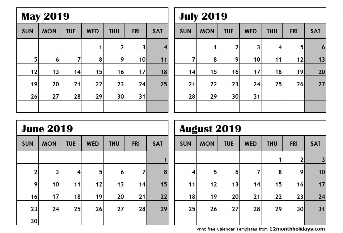 Free Printable Calendar 4 Month • Printable Blank Calendar Template_Blank Calendar 4 Months Per Page