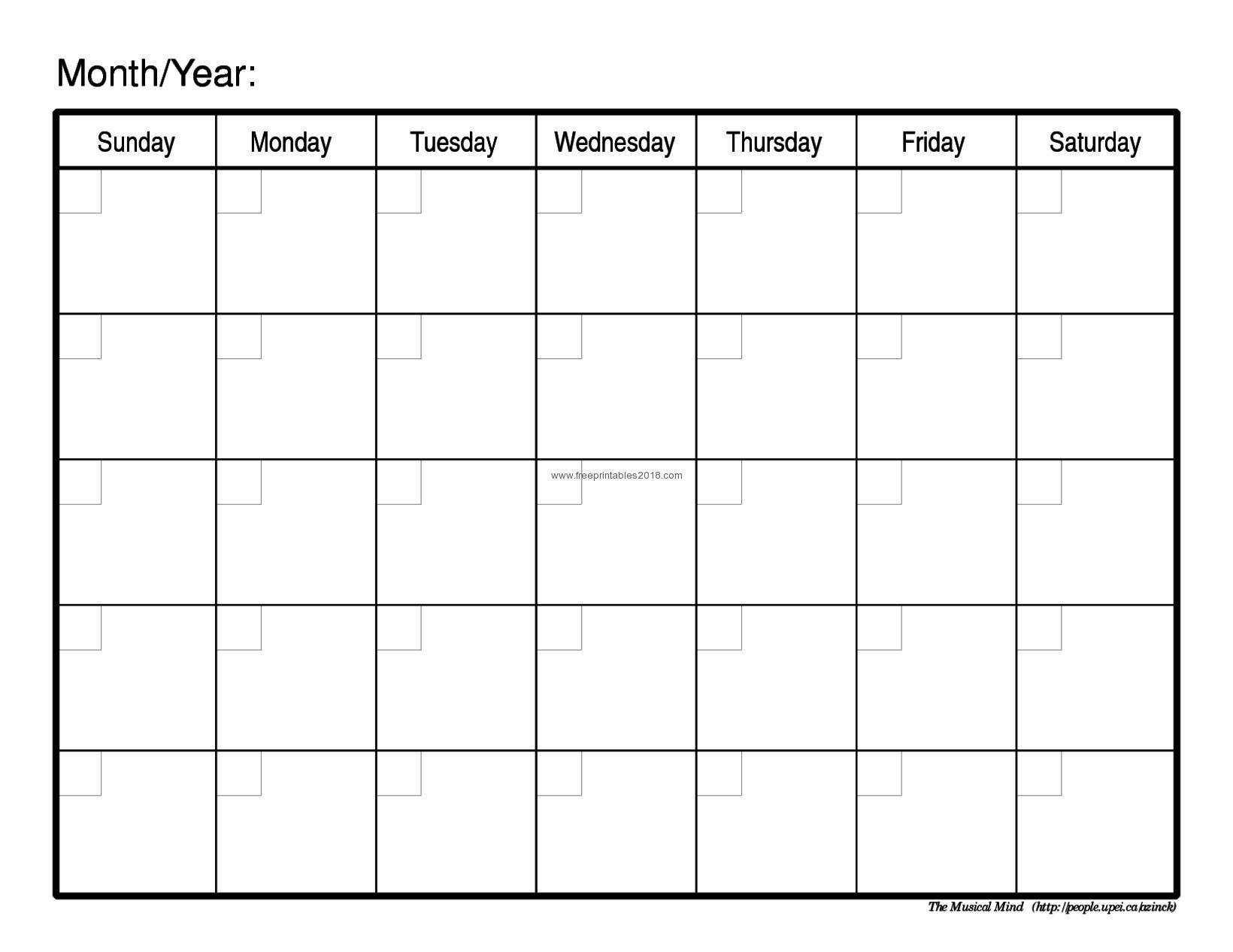 Free Printable Calendar Blank Free Printable Blank Calendar_A Printable Blank Calendar