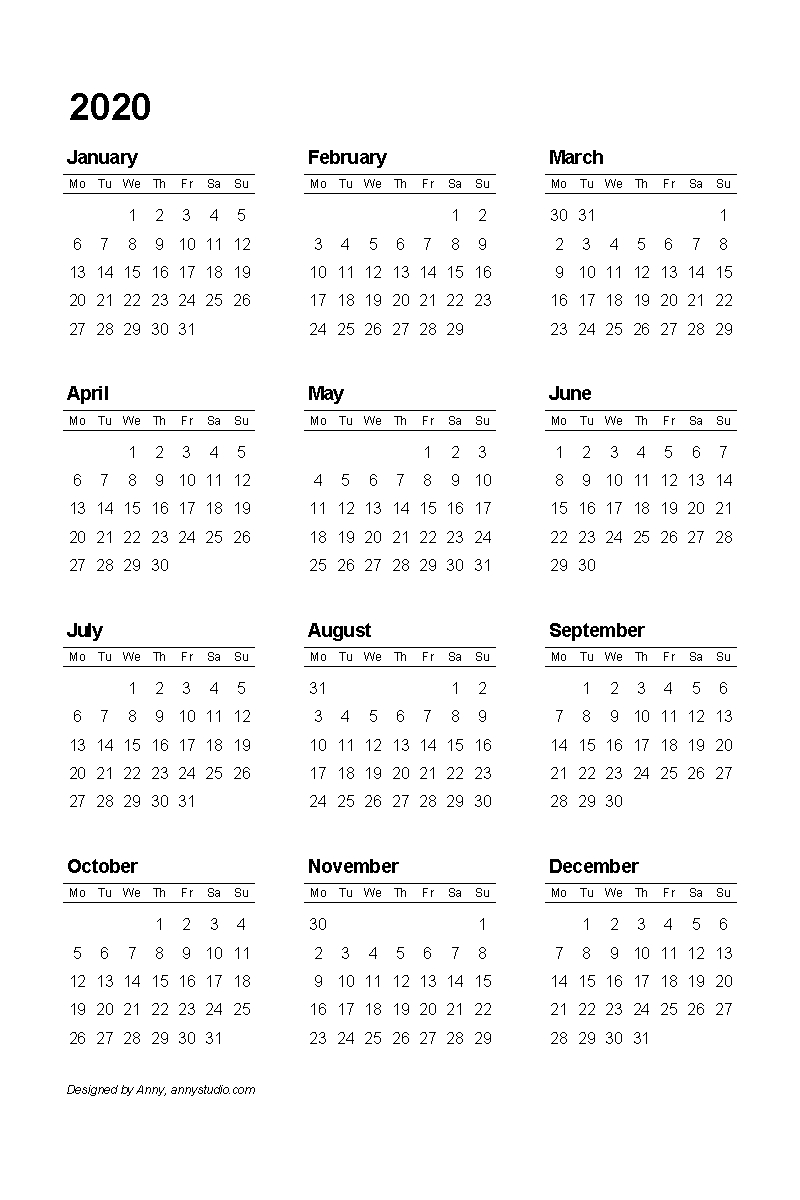Free Printable Calendars And Planners 2019, 2020, 2021, 2022_Blank Calendar 2020 12 Month