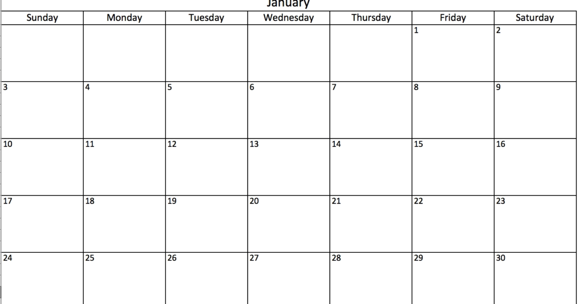 Free, Printable Excel Calendar Templates For 2019 & On   Smartsheet_Blank Calendar Can Type In
