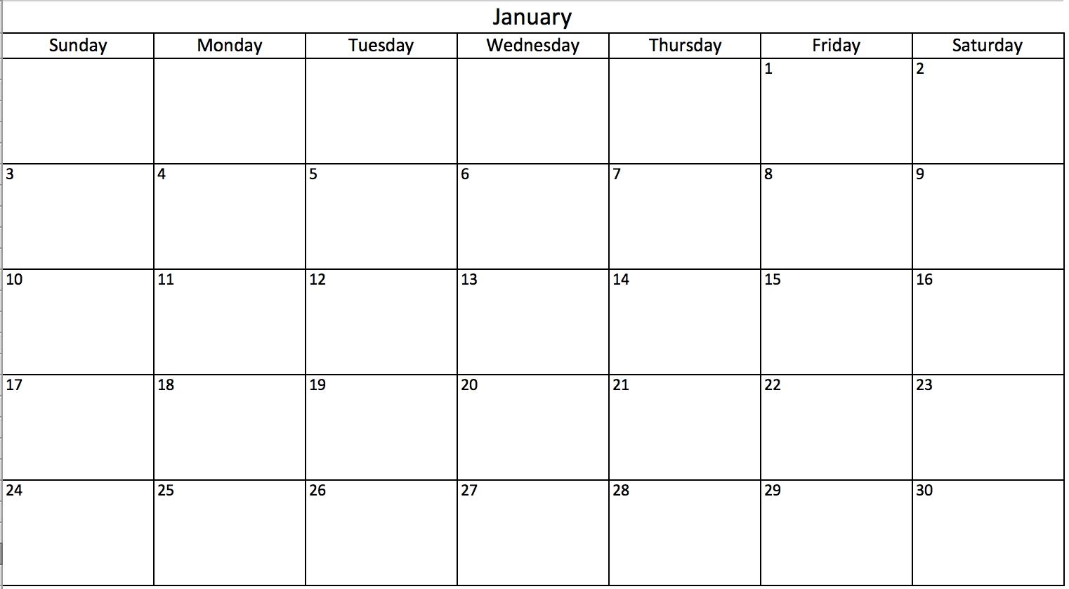 Free, Printable Excel Calendar Templates For 2019 & On | Smartsheet_Print Blank Calendar Date Range
