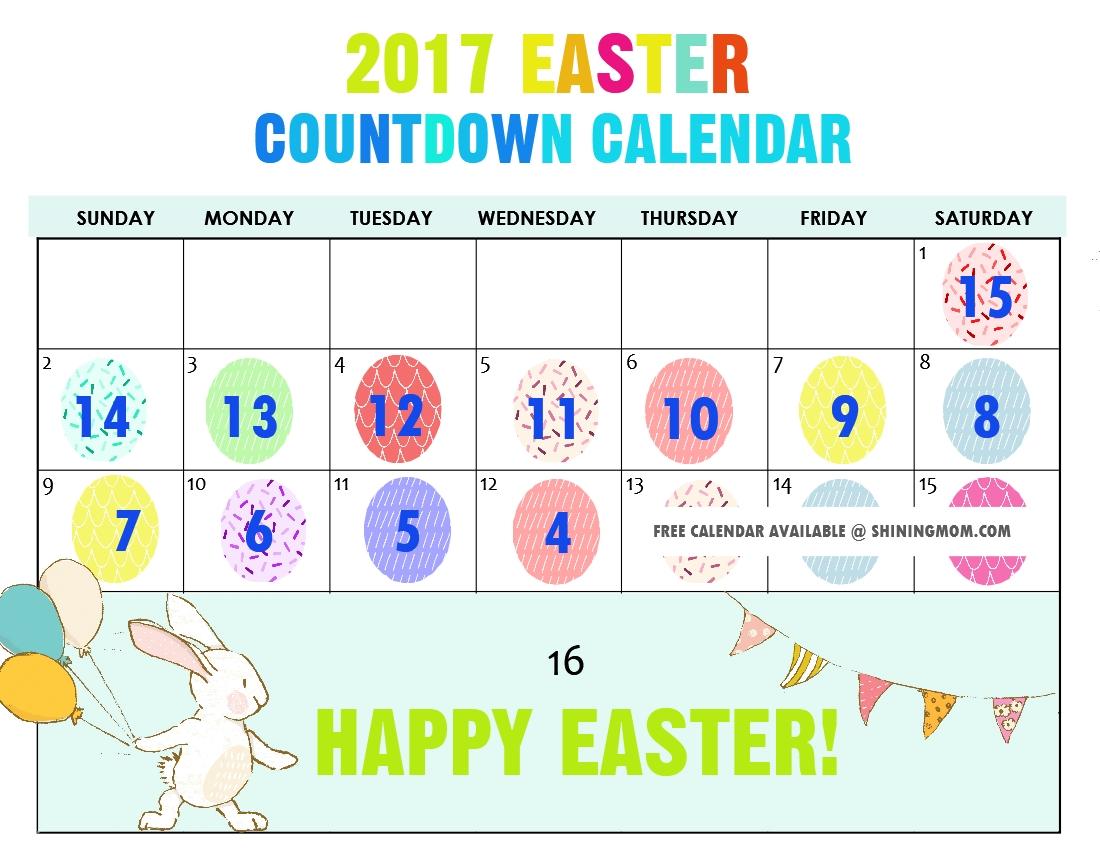 Free Printable: Fun Easter Countdown Calendar 2017_Calendar Countdown To Print