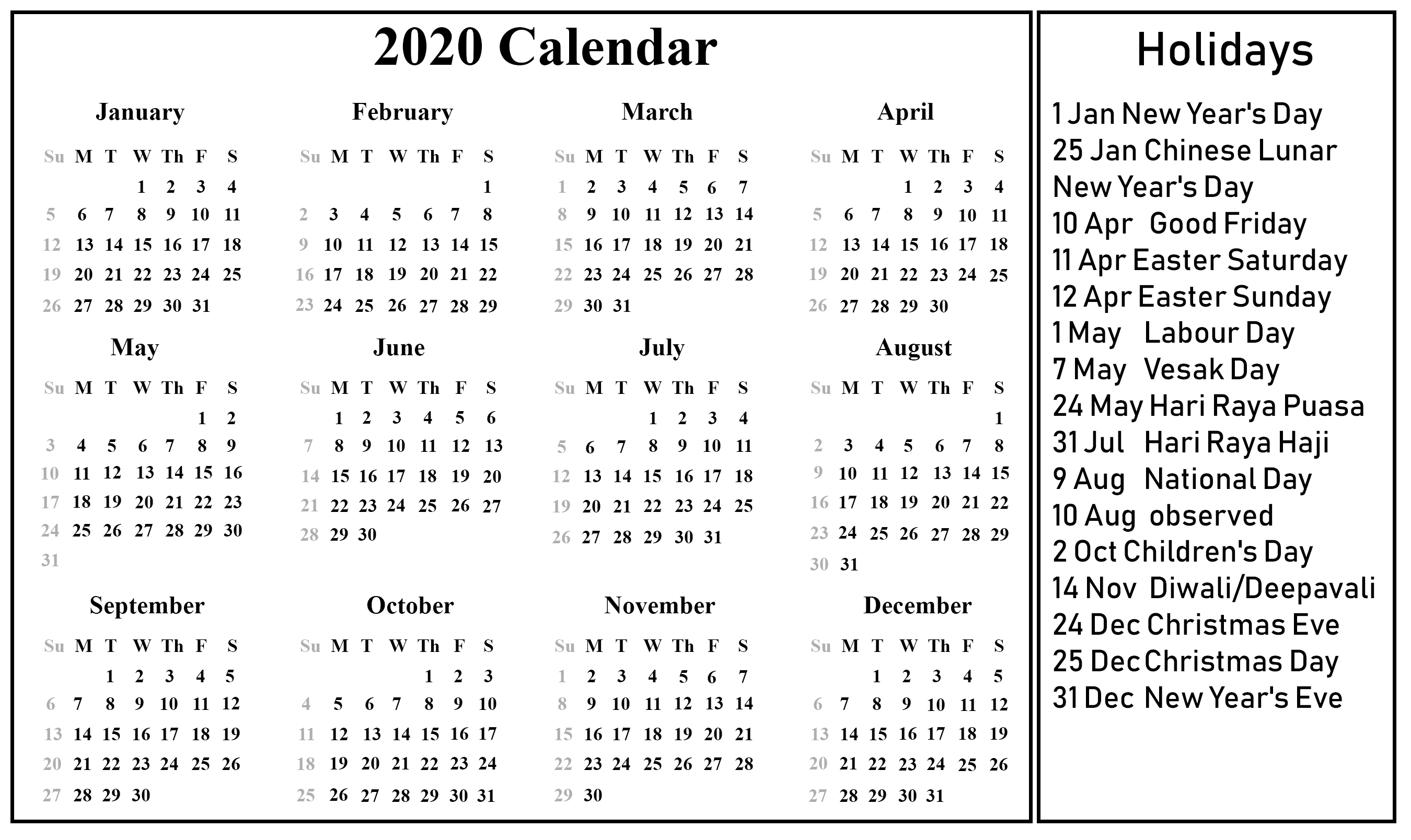 Free Printable Singapore Calendar 2020 {Pdf, Excel & Word_Blank Vacation Calendar 2020