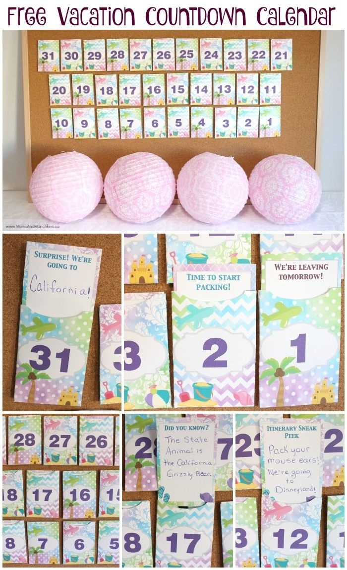 Free Printable Vacation Countdown Calendar | Crafts | Vacation_Countdown Calendar For Toddlers