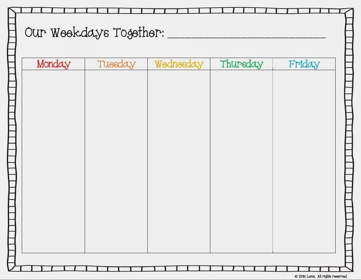 Free Printable Weekday Only Calendar - Google Search | Cool | School_Blank Calendar Weekdays Only