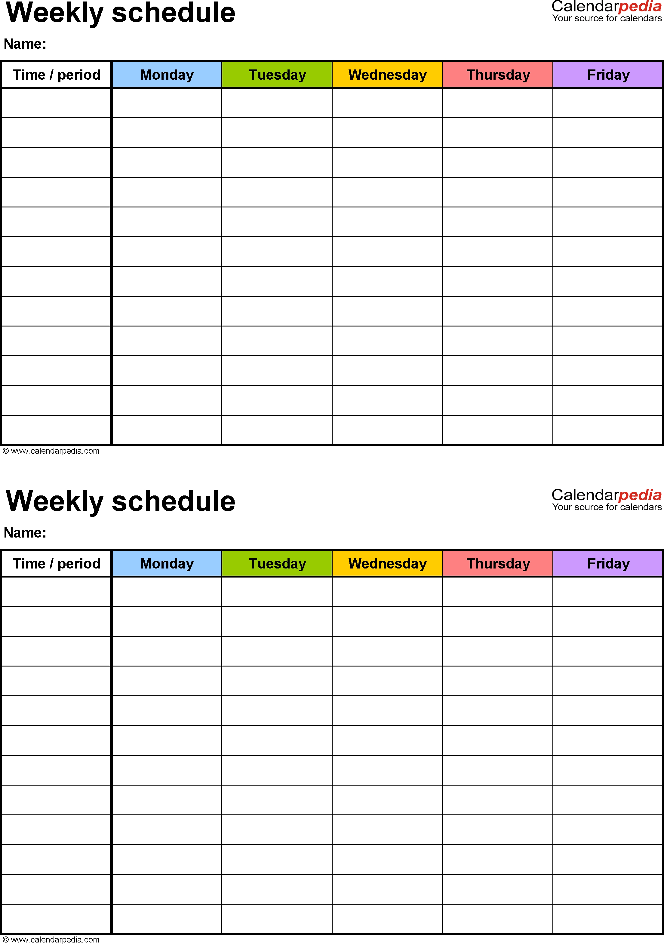 Free Weekly Schedule Templates For Excel - 18 Templates_9 Week Blank Calendar